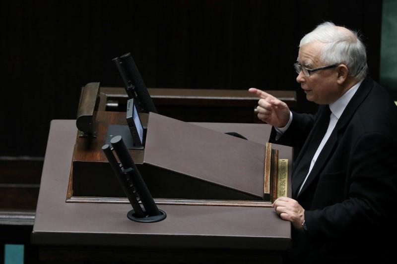Law and Justice (PiS) leader Jaroslaw Kaczynski speaks during a parliament session in Warsaw, Poland, October 28, 2020. Slawomir Kaminski/Agencja Gazeta/via REUTERS