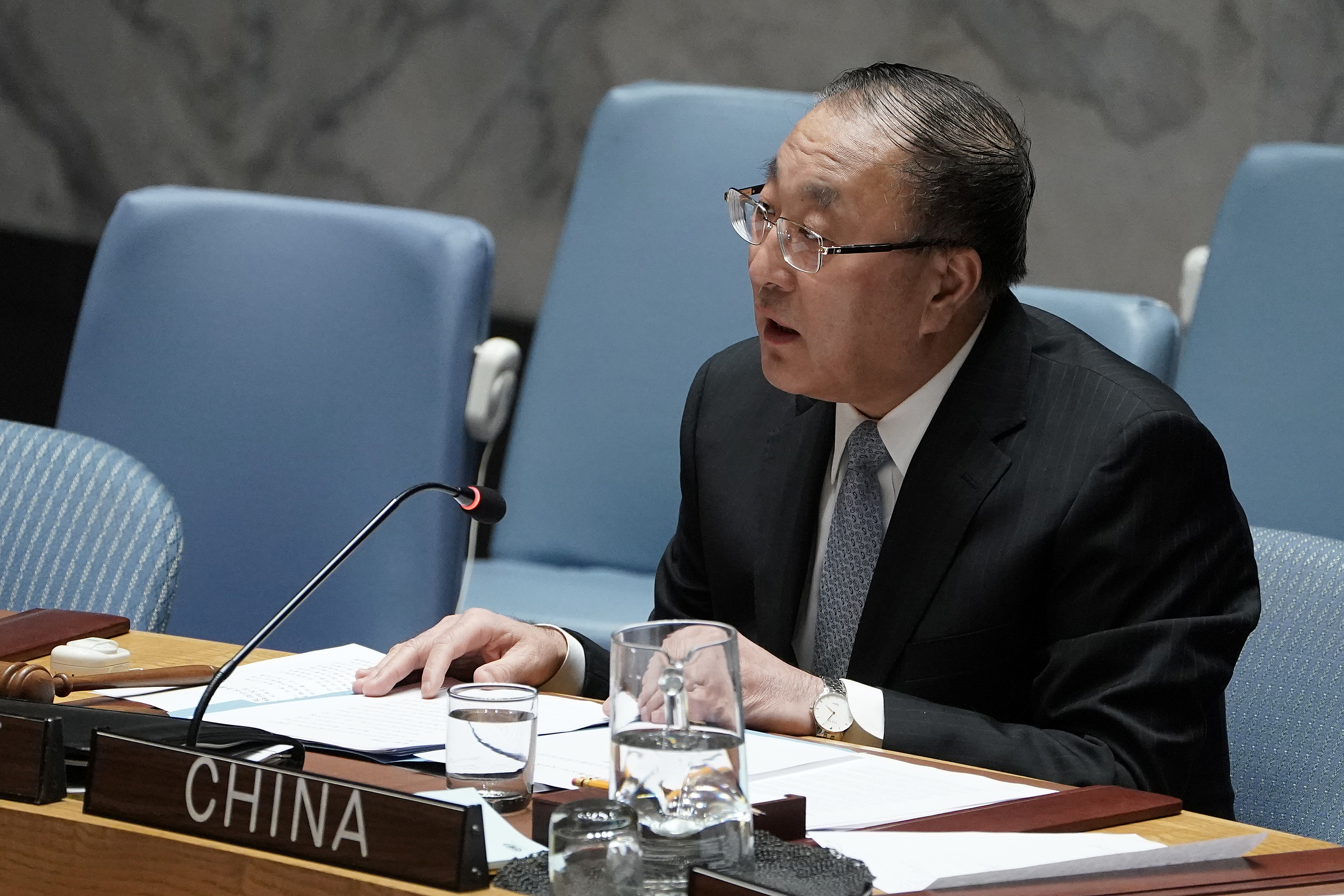 Zhang Jun, China's Ambassador to the United Nations speaks at a Security Council meeting about Afghanistan at United Nations Headquarters in the Manhattan borough of New York City, New York, U.S., March 10, 2020. REUTERS/Carlo Allegri