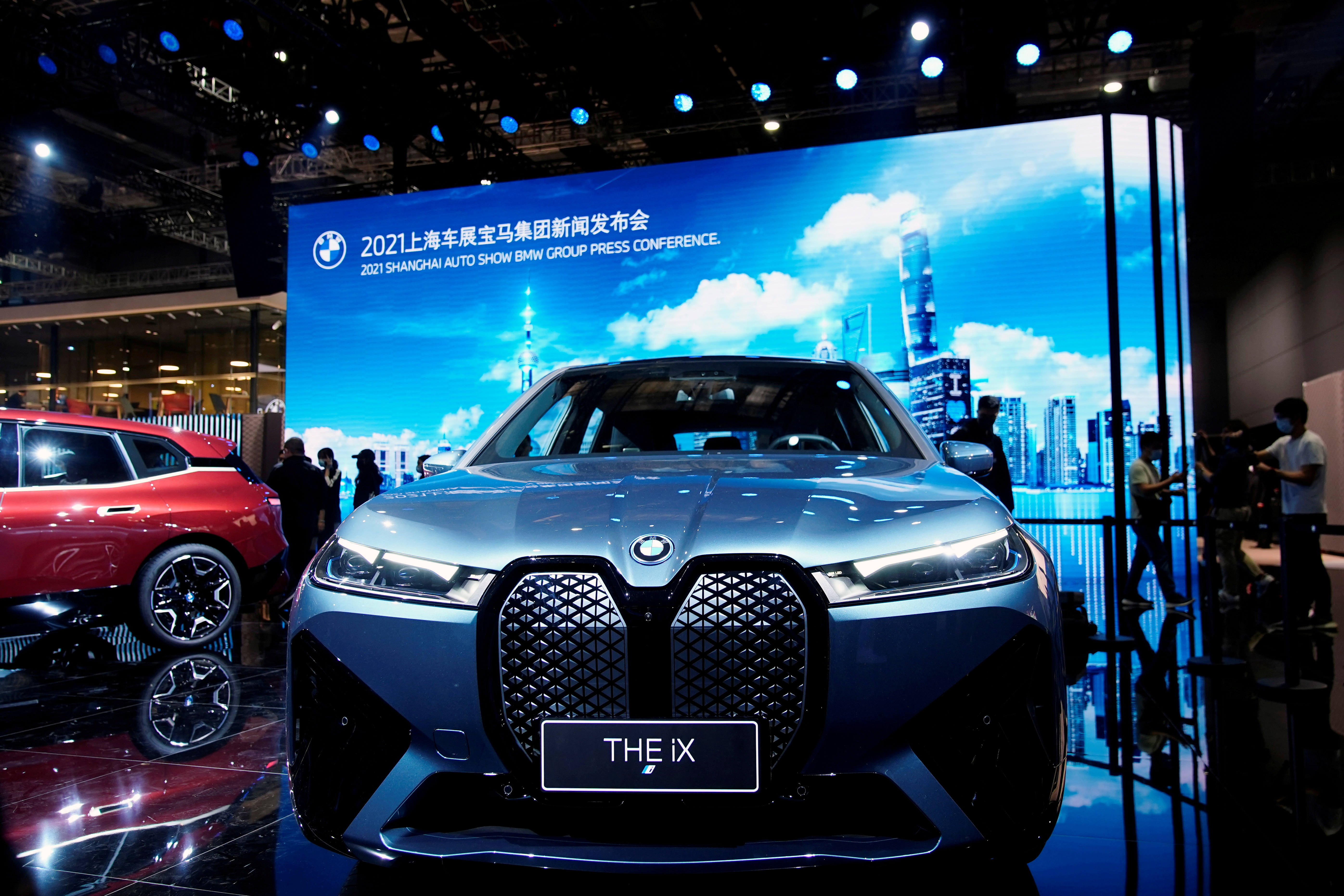 A BMW iX electric vehicle (EV) is seen displayed at the BMW booth during a media day for the Auto Shanghai show in Shanghai, China April 19, 2021. REUTERS/Aly Song/File Photo
