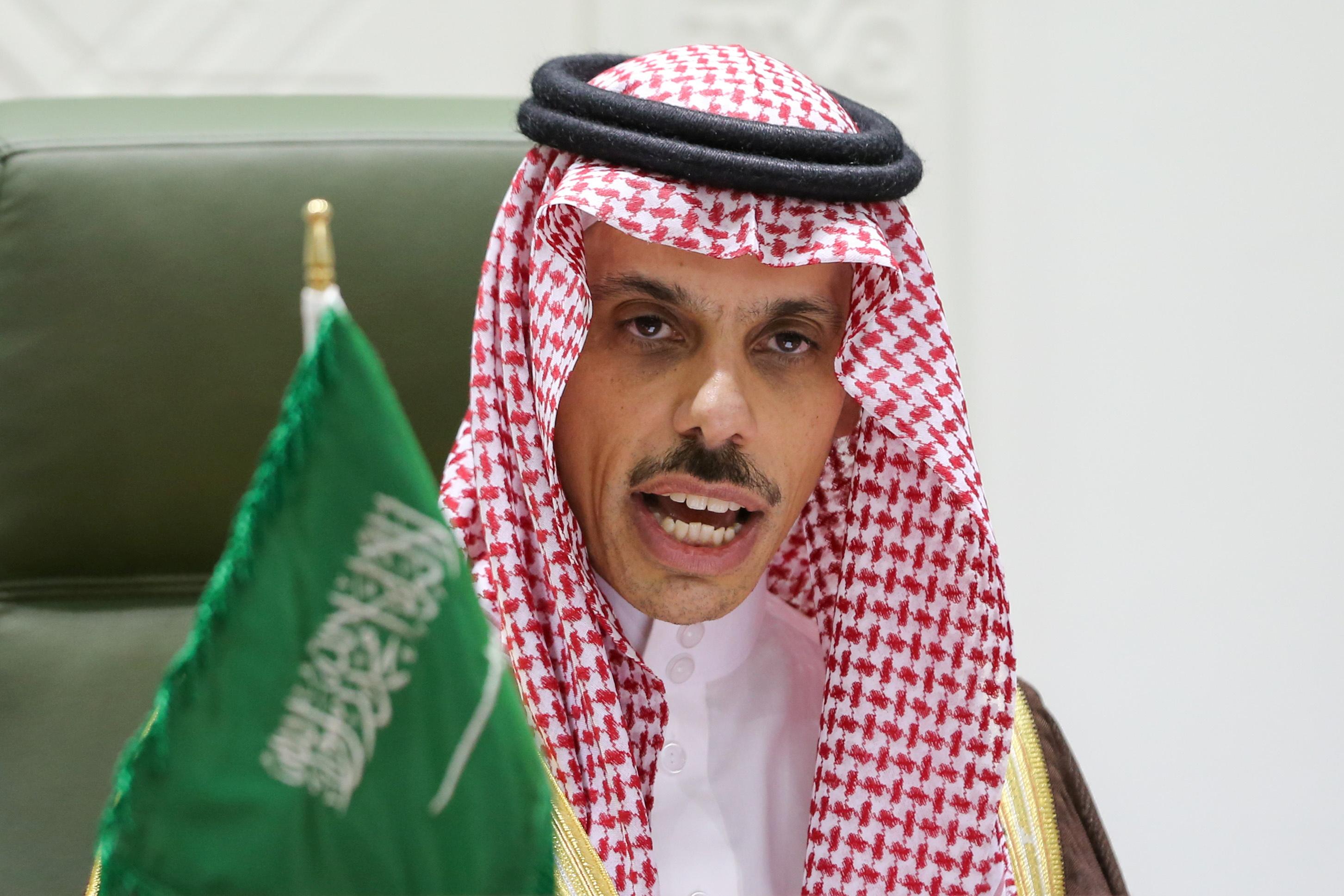 Saudi Arabia's Foreign Minister Prince Faisal bin Farhan Al Saud speaks during a news conference in Riyadh, Saudi Arabia March 22, 2021. REUTERS/Ahmed Yosri