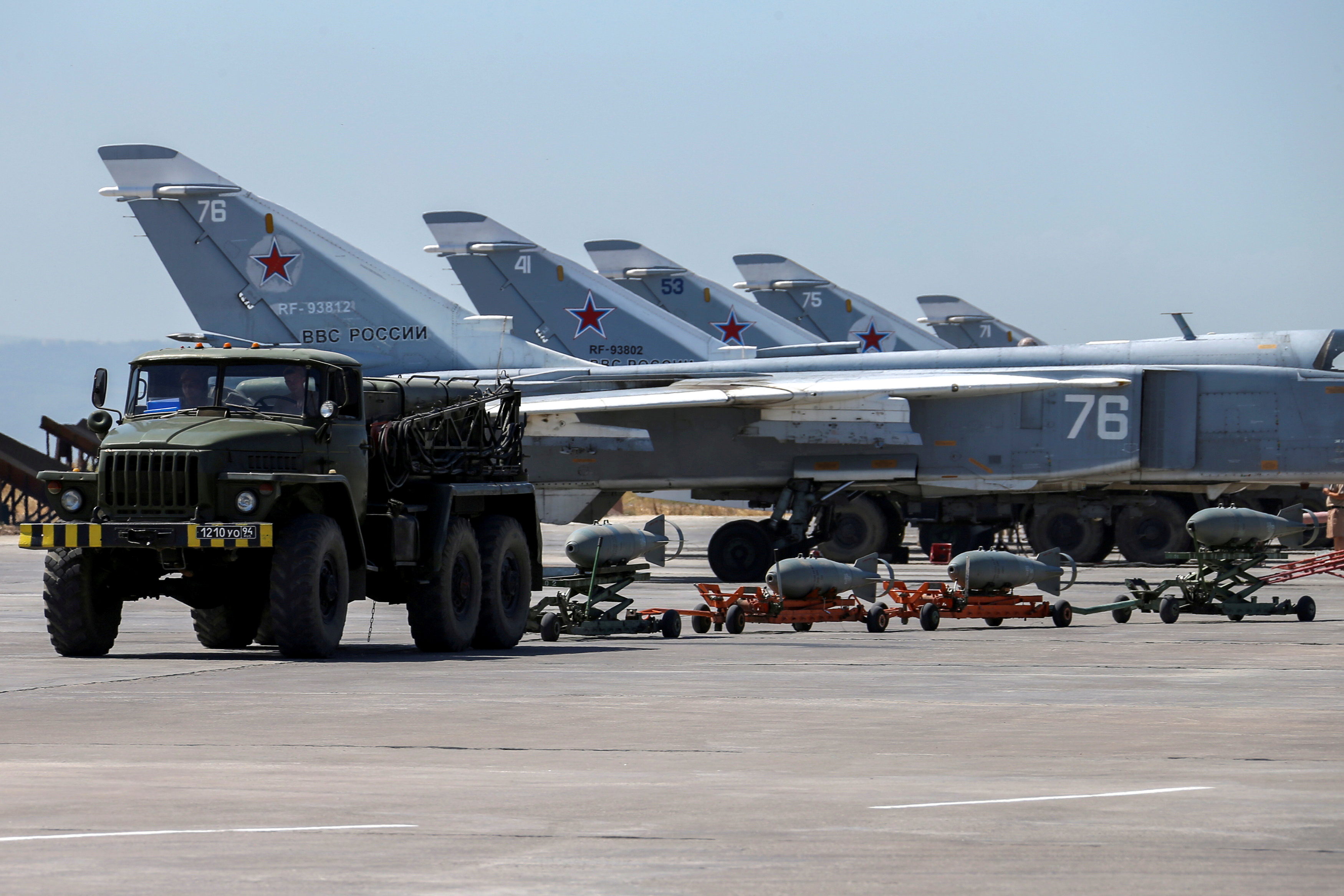 Russian military jets are seen at Hmeymim air base in Syria, June 18, 2016. REUTERS/Vadim Savitsky/Russian Defense Ministry via Reuters/