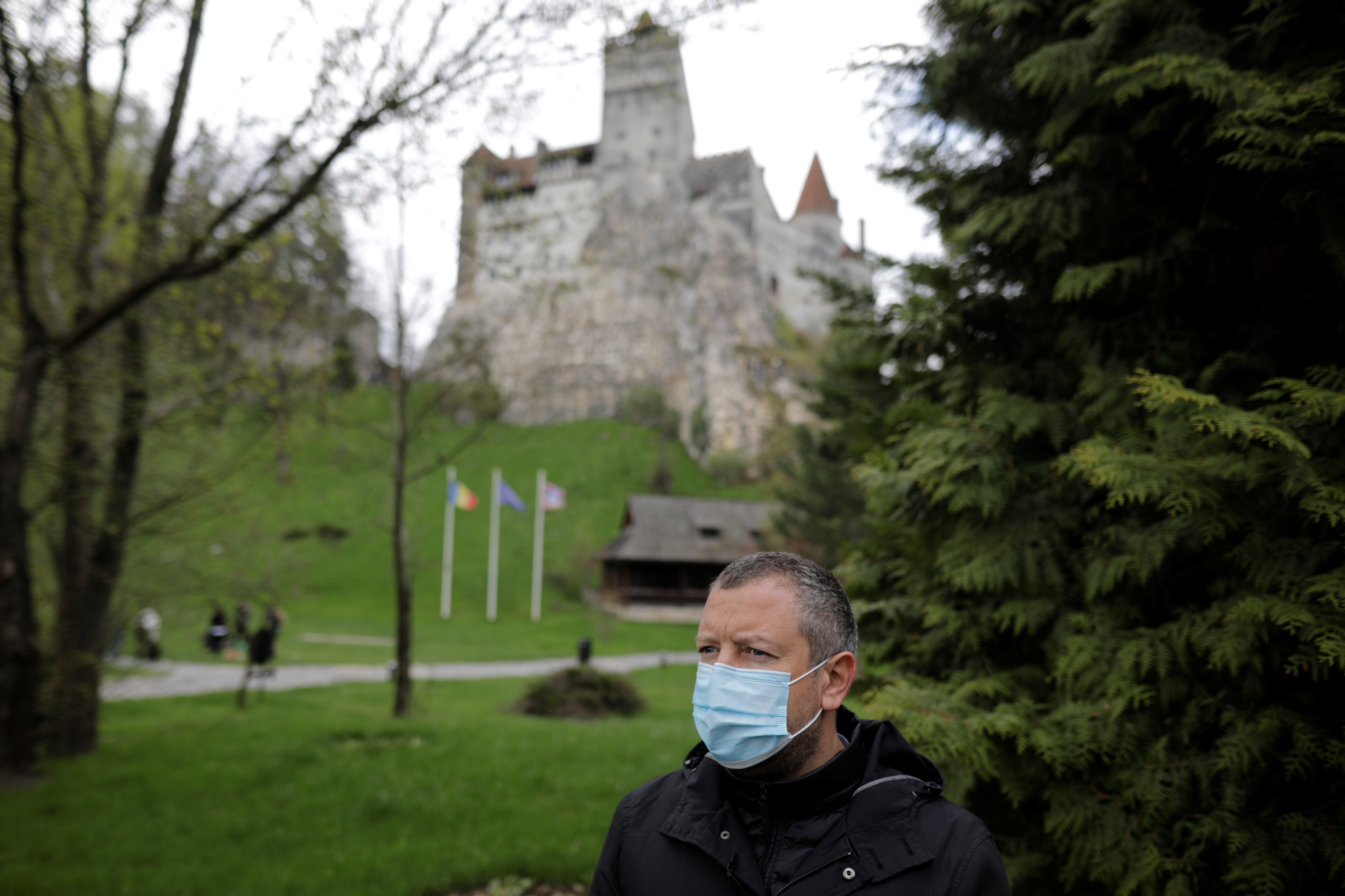 Alexandru Priscu, Bran Castle's marketing director, looks on during interview with Reuters reporter, in Brasov county, Romania, May 8, 2021. Inquam Photos/George Calin via REUTERS