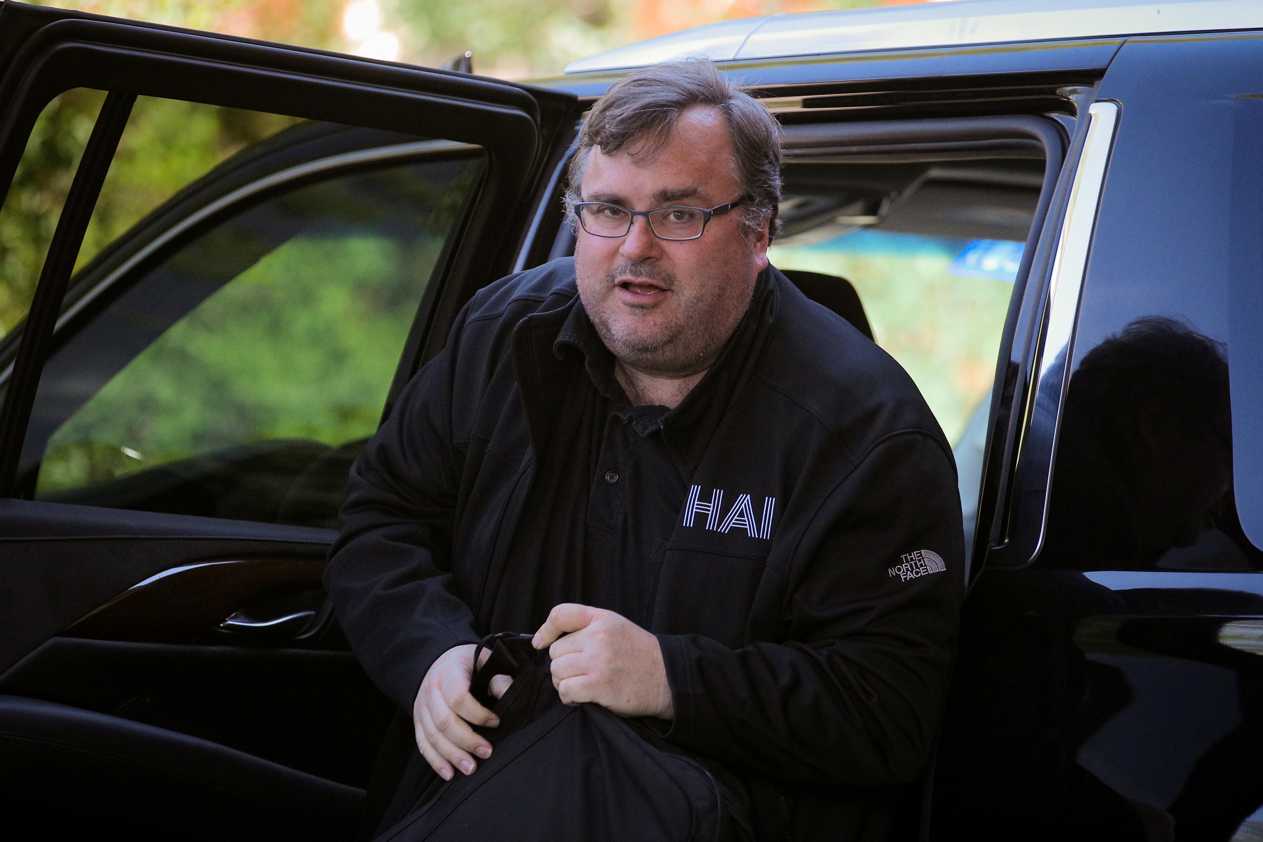 Reid Hoffman, co-founder of Linkedin and venture capitalist, arrives at the annual Allen and Co. Sun Valley media conference in Sun Valley, Idaho, U.S., July 9, 2019. REUTERS/Brendan McDermid
