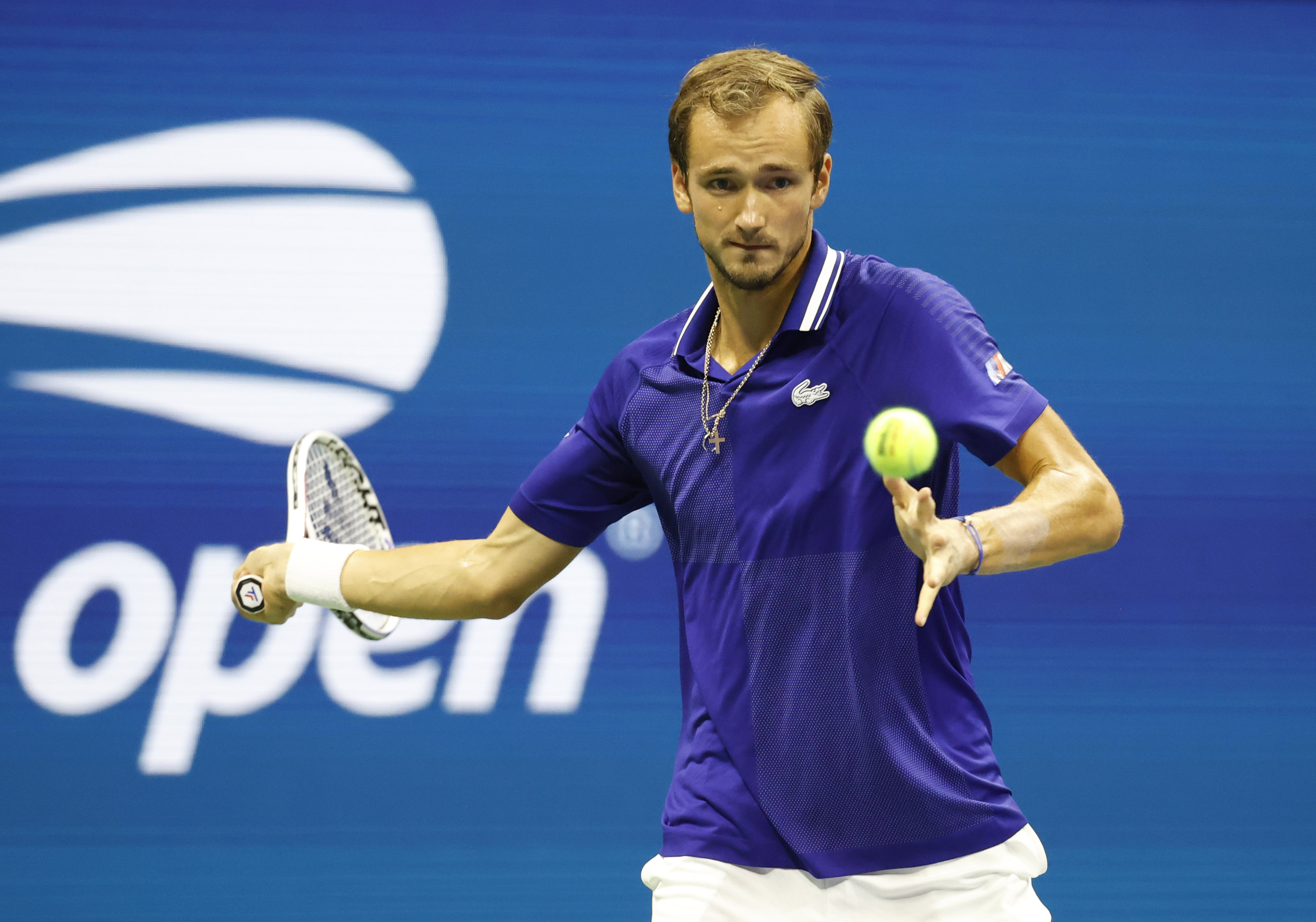 Aug 30, 2021; Flushing, NY, USA; Daniil Medvedev of Russia returns a shot Richard Gasquet of France in the first round on day one of the 2021 U.S. Open tennis tournament at USTA Billie King National Tennis Center. Mandatory Credit: Jerry Lai-USA TODAY Sports
