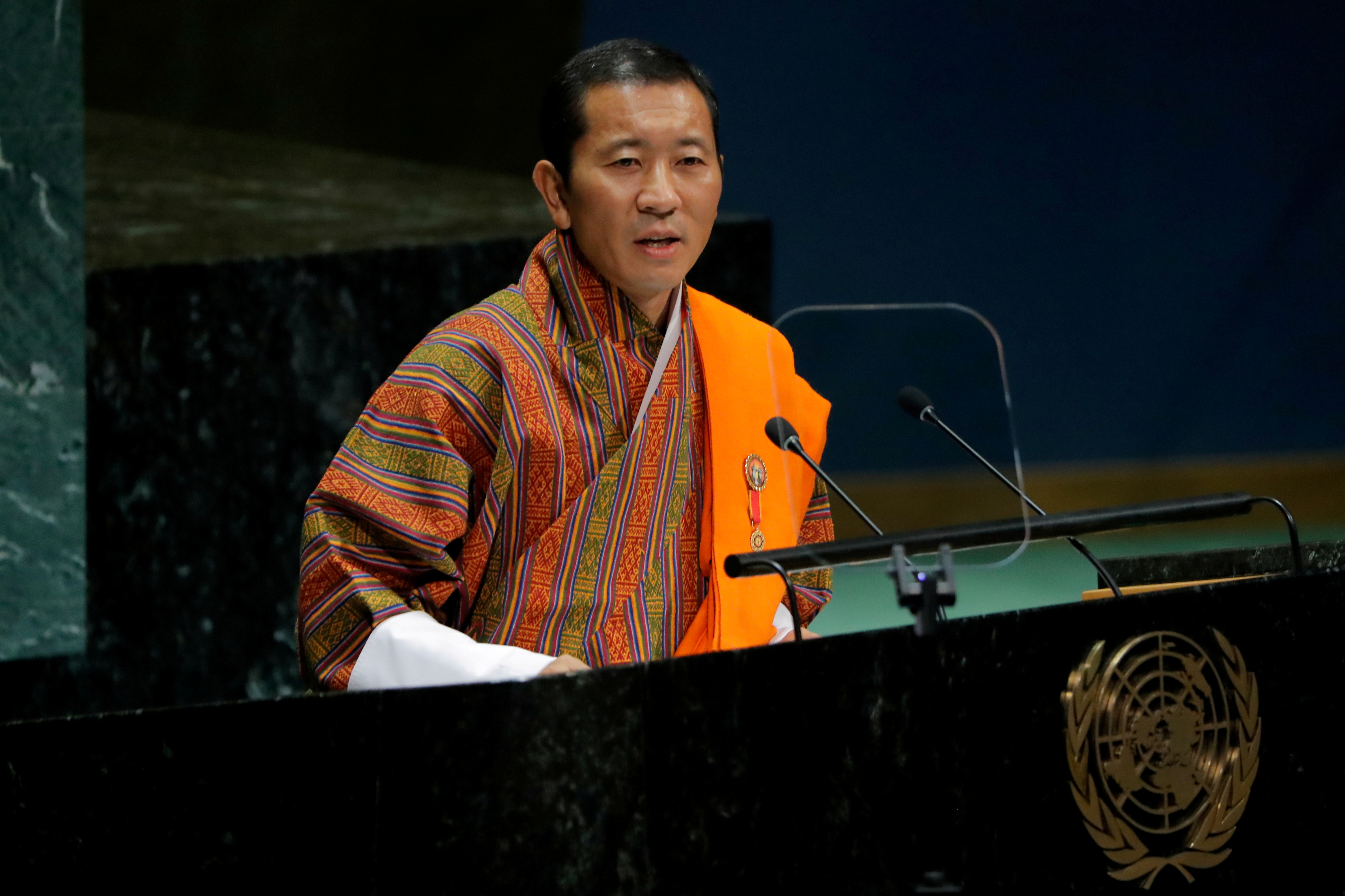 Bhutan's Prime Minister Lotay Tshering addresses the 74th session of the United Nations General Assembly at U.N. headquarters in New York City, New York, U.S., September 28, 2019.  REUTERS/Brendan McDermid
