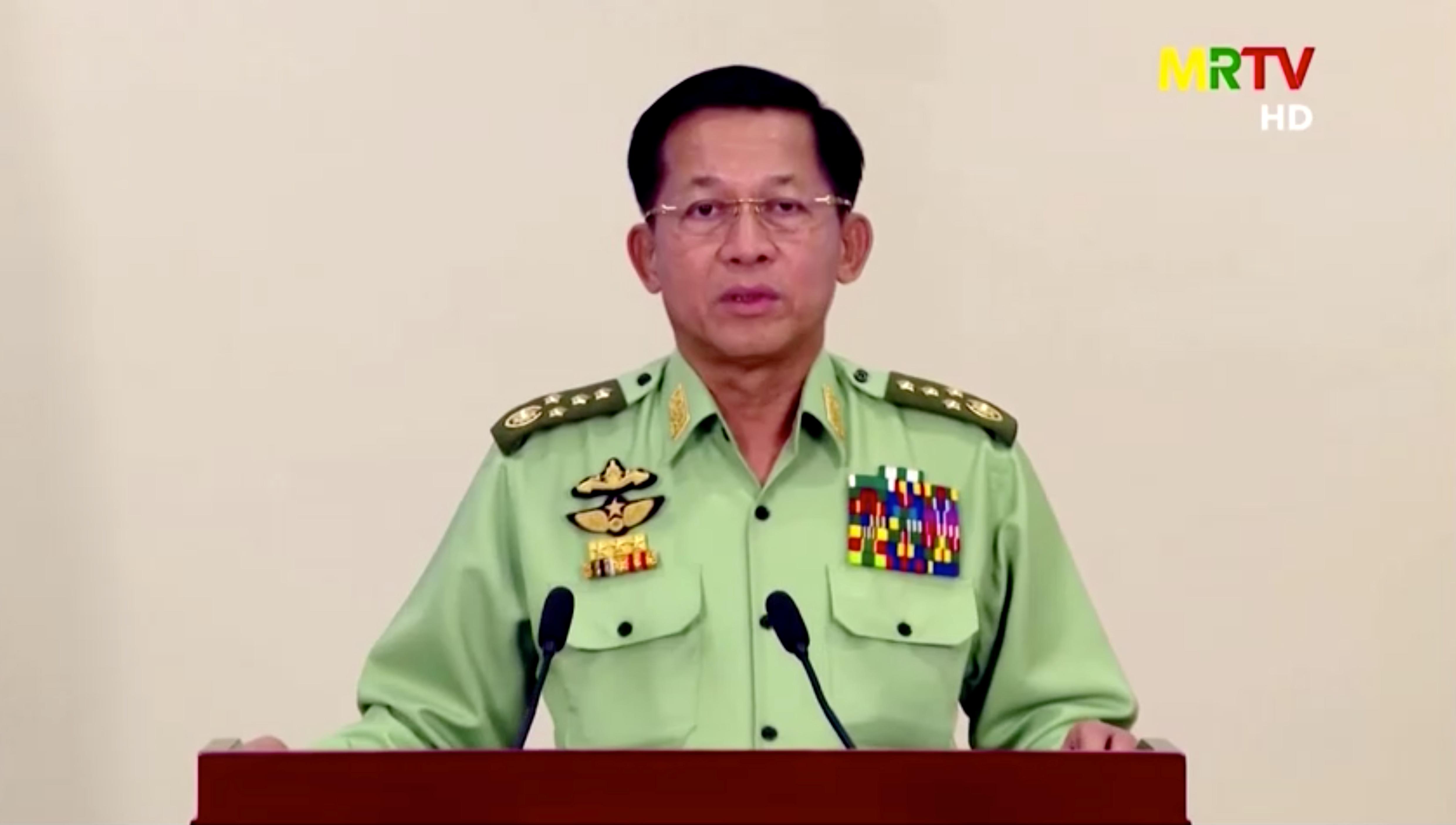 Myanmar's military junta leader, General Min Aung Hlaing, speaks in a media broadcast in Naypyitaw, Myanmar February 8, 2021 in this still image taken from video. MRTV/Reuters TV via REUTERS