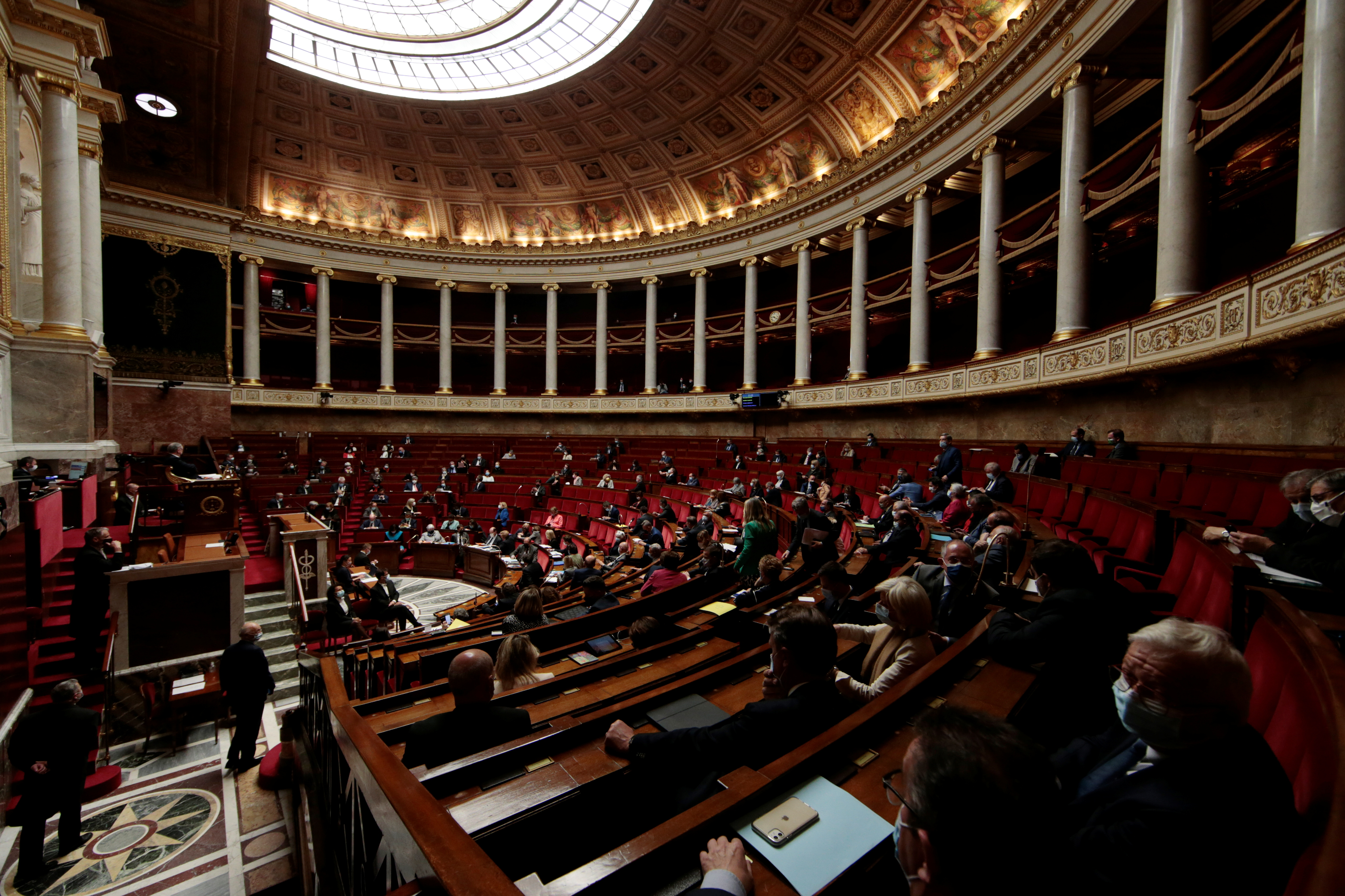 A general view shows the hemicycle during the questions to the government session before a final vote on controversial climate change bill at the National Assembly in Paris, France, May 4, 2021. REUTERS/Sarah Meyssonnier