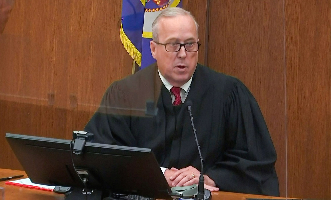 Minnesota Judge Peter Cahill addresses the sentencing hearing for former Minneapolis police officer Derek Chauvin for the murder of George Floyd in Minneapolis, Minnesota, U.S. June 25, 2021 in a still image from video. Pool via REUTERS