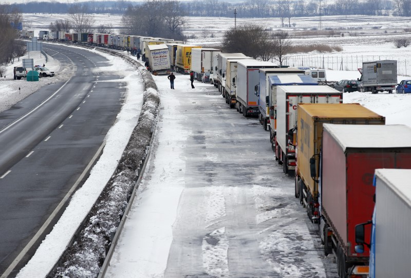 Vehicles are seen at the M1 highway, 80 km west of Budapest, March 15, 2013. REUTERS/Laszlo Balogh