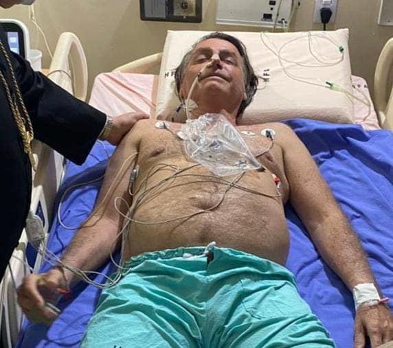Brazil's President Jair Bolsonaro at the armed forces hospital (HFA) in Brasilia, July 14, 2021.  @jairmessiasbolsonaro via REUTERS