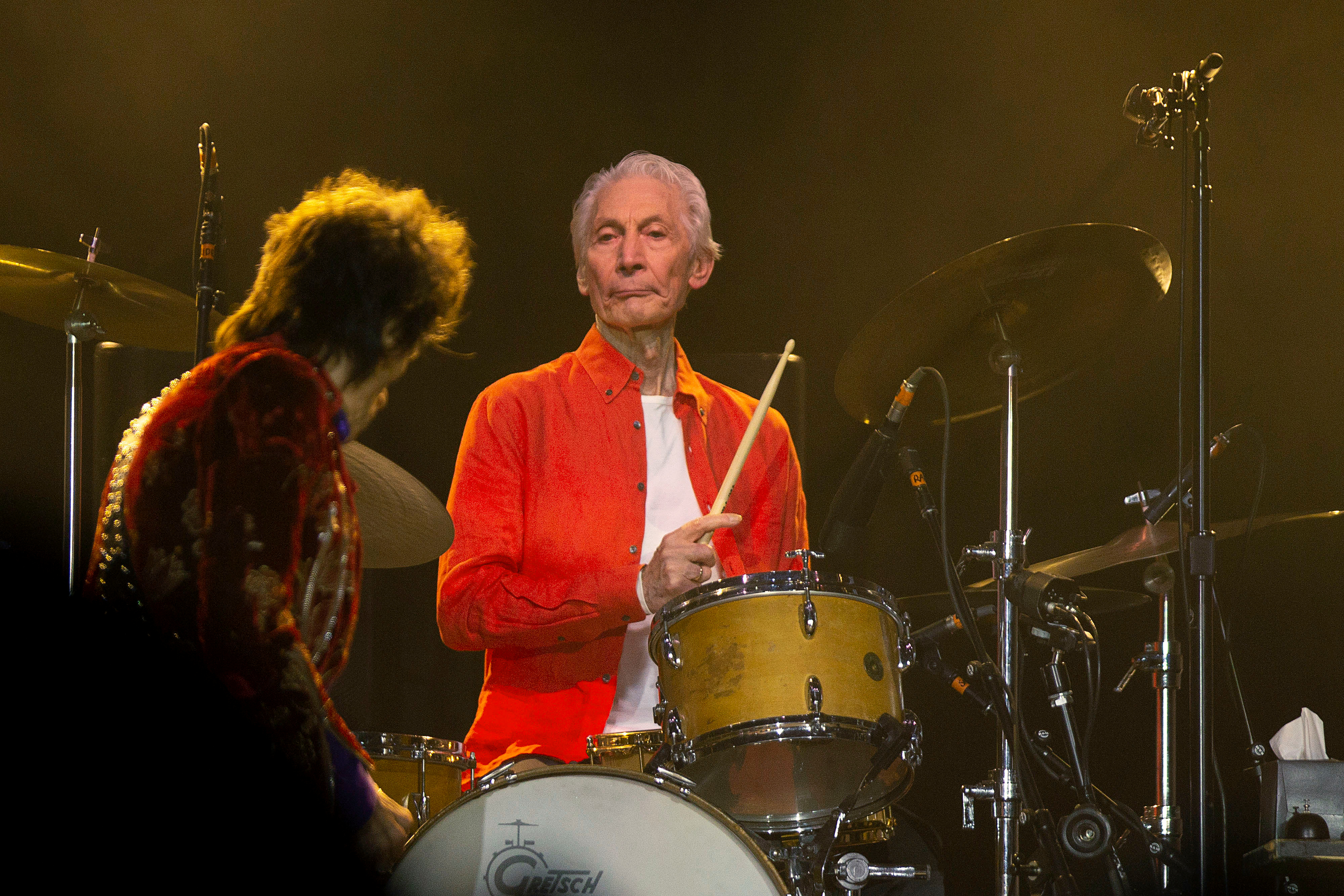 Drummer Charlie Watts performs during the kick-off show of the Rolling Stones'