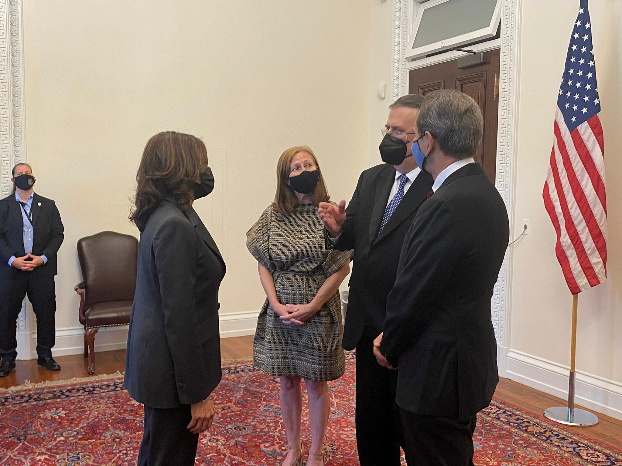 Mexican Foreign Minister Marcelo Ebrard chats with U.S. Vice President Kamala Harris, U.S. Secretary of State Anthony Blinken and Mexican Economy Minister Tatiana Clouthier before the so-called High-Level Economic Dialogue (HLED) that seek to pursue economic opportunities beyond the trade issues covered in the new North America trade agreement, in Washington, U.S. September 9, 2021. Mexico's Foreign Relations Ministry/Handout via REUTERS