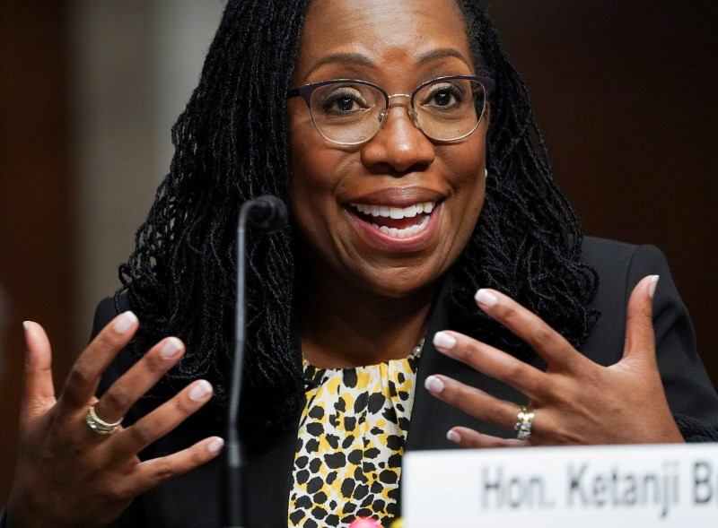 Ketanji Brown Jackson, nominated to be a U.S. Circuit Judge for the District of Columbia Circuit, testifies before a Senate Judiciary Committee hearing on pending judicial nominations on Capitol Hill in Washington, U.S., April 28, 2021. REUTERS/Kevin Lamarque/File Photo