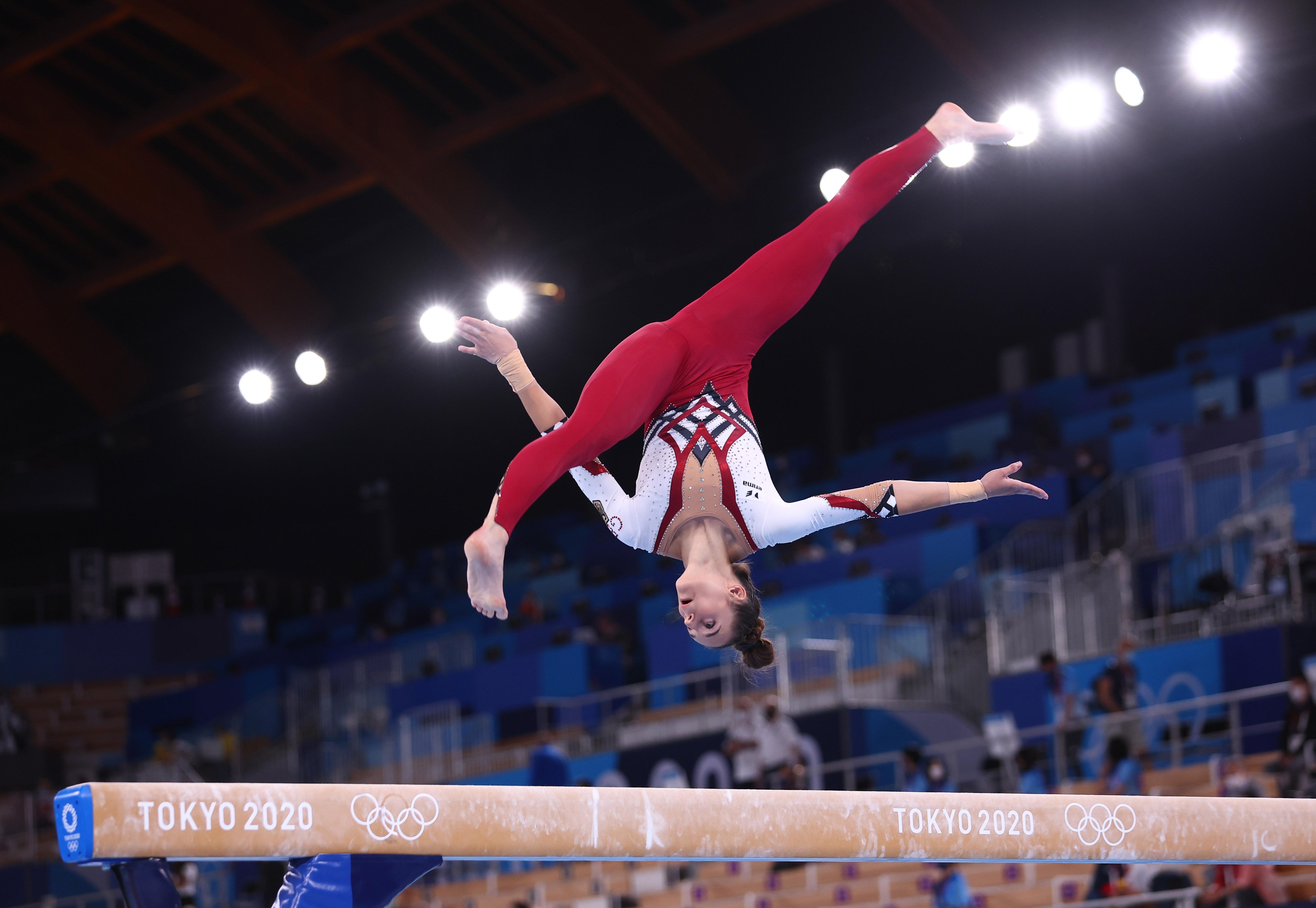 Tokyo 2020 Olympics - Gymnastics - Artistic - Women's Beam - Qualification - Ariake Gymnastics Centre, Tokyo, Japan - July 25, 2021. Pauline Schaefer of Germany in action on the balance beam REUTERS/Mike Blake
