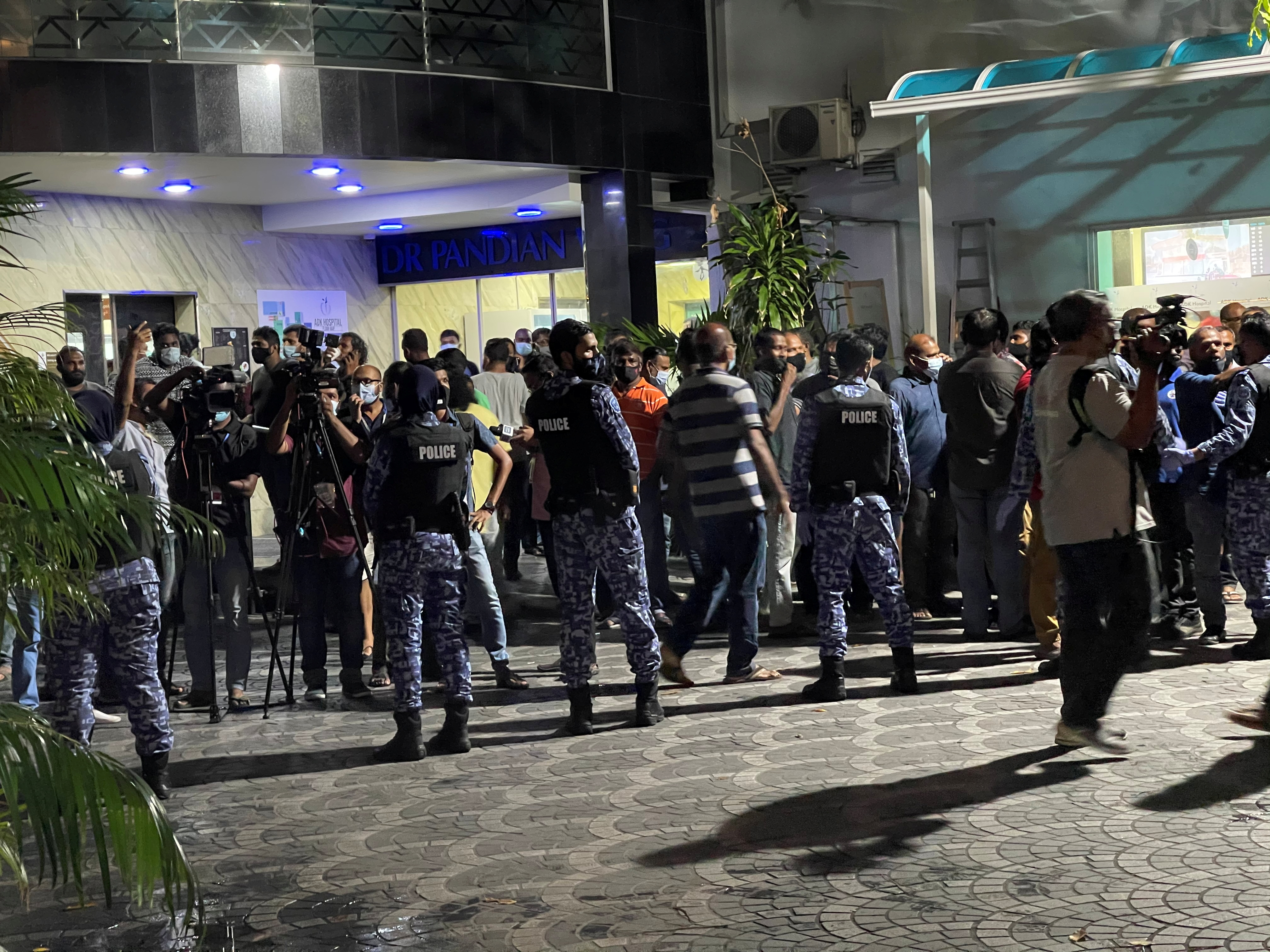 Scenes outside Adk hospital in Male where speaker of parliament, former President Mohamed Nasheed is treated, in this still image obtained via social media dated May 6, 2021. @AMNASHATH /TWITTER/via REUTERS THIS IMAGE HAS BEEN SUPPLIED BY A THIRD PARTY. MANDATORY CREDIT. NO RESALES. NO ARCHIVES.