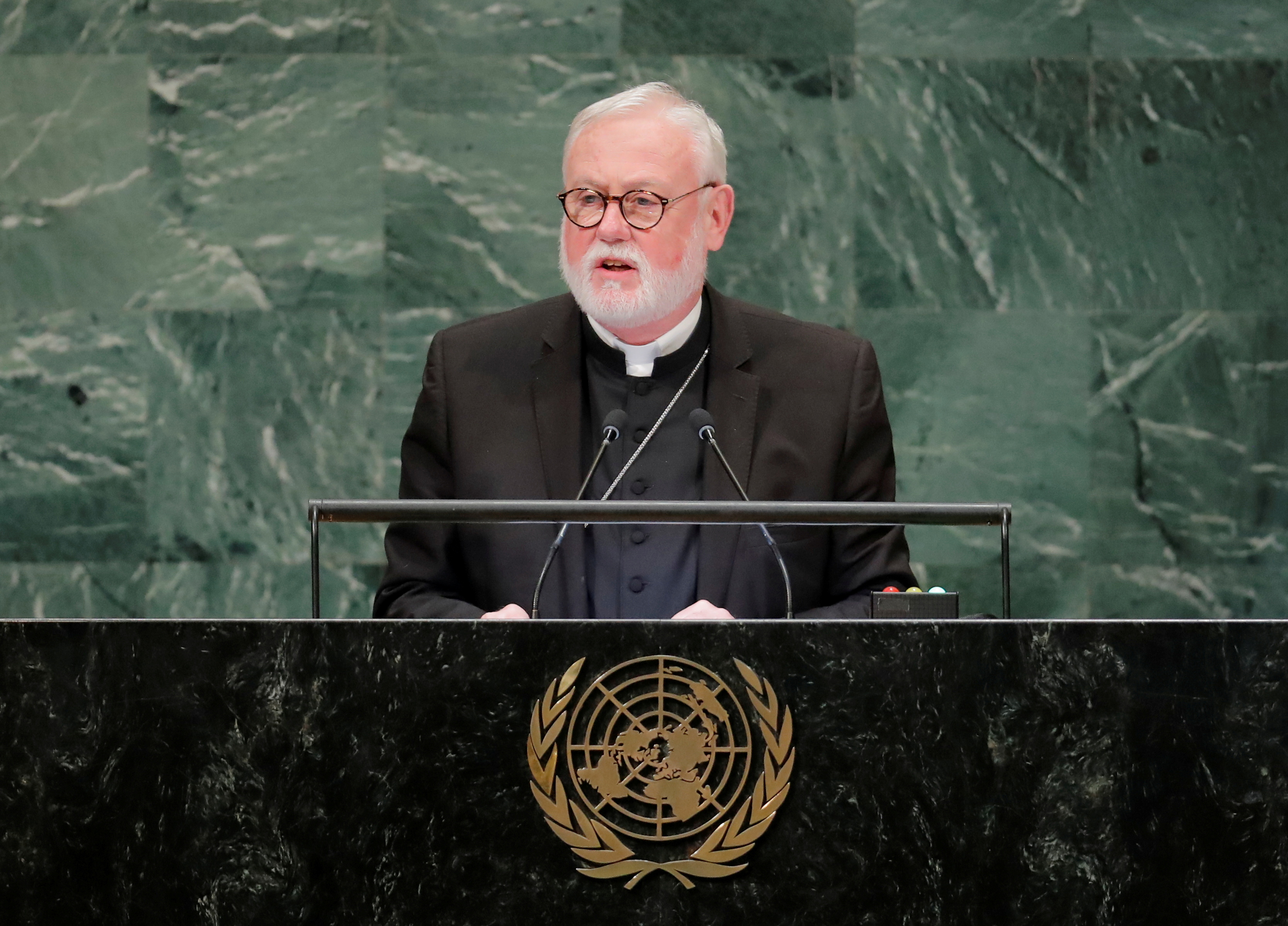 Archbishop Paul Richard Gallagher, Secretary of Relations with States for The Holy See, addresses the 73rd session of the United Nations General Assembly at U.N. headquarters in New York, U.S., October 1, 2018. REUTERS/Brendan McDermid/File Photo