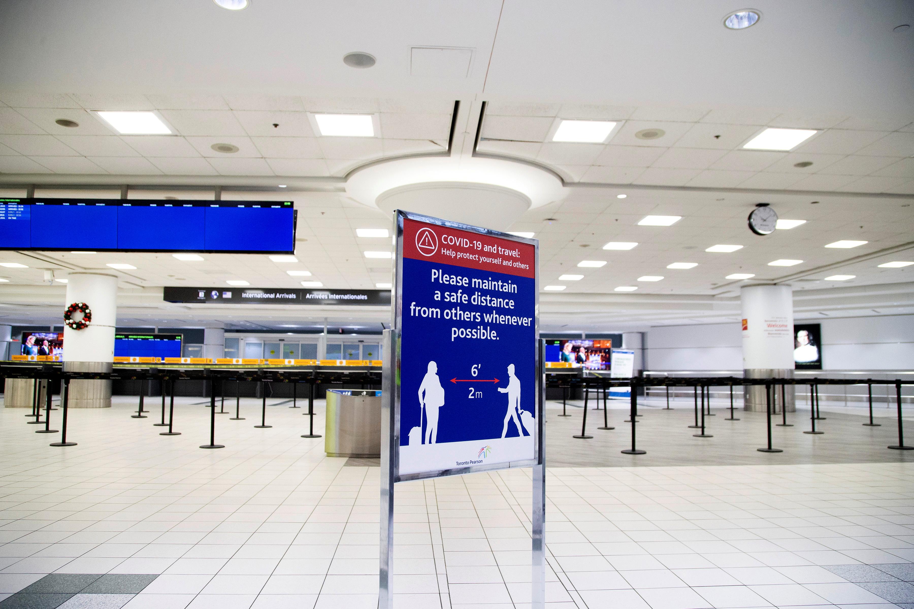 An empty terminal 3, amid a spike in coronavirus disease (COVID-19) cases, at Pearson airport near Toronto, Ontario, Canada December 30, 2020.  REUTERS/Carlos Osorio
