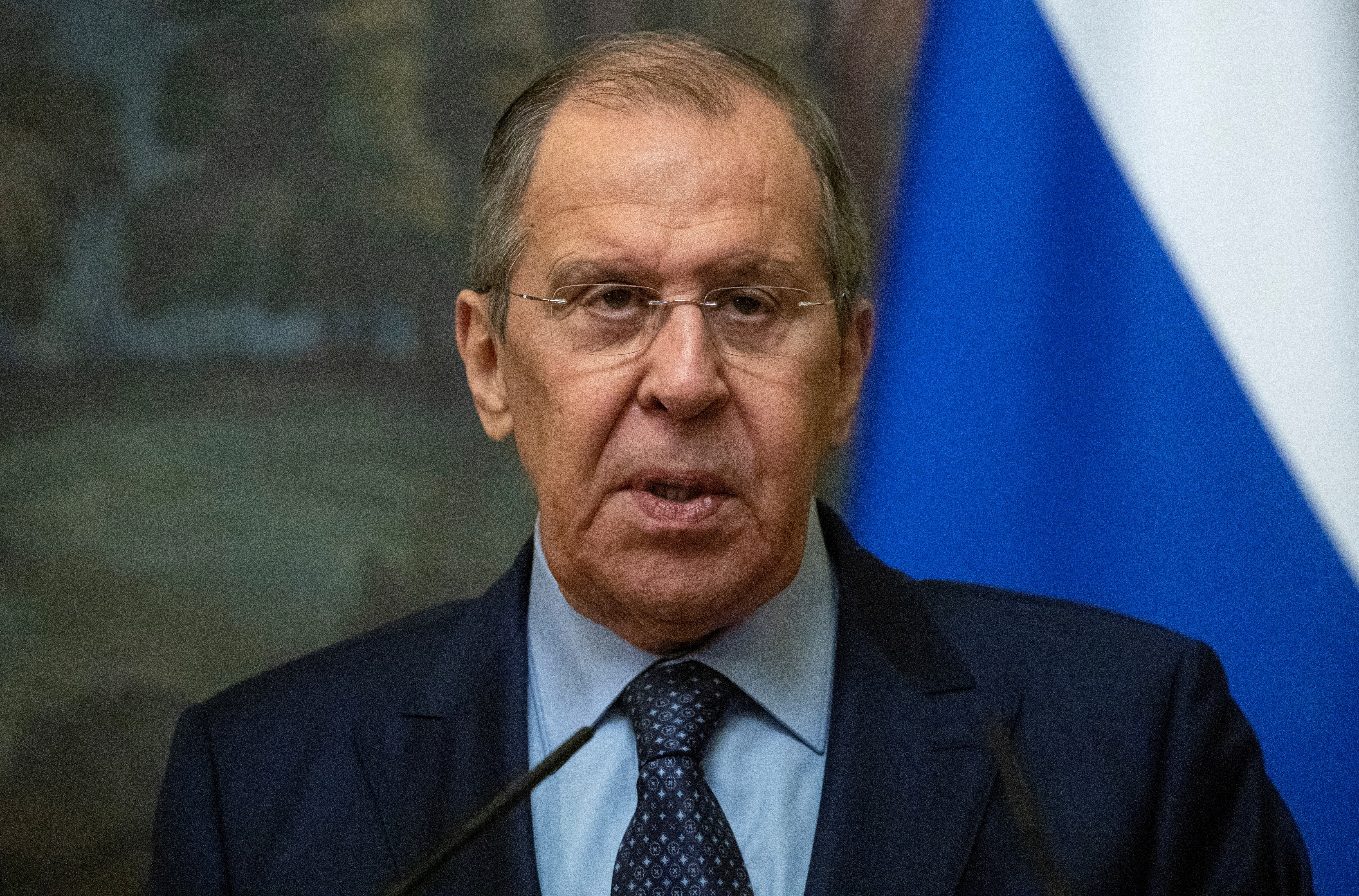 Russia's Foreign Minister Sergei Lavrov attends a news conference following talks with San Marino's Foreign Minister Luca Beccari in Moscow, Russia, September 13, 2021. Sergei Ilnitsky/Pool via REUTERS/File Photo