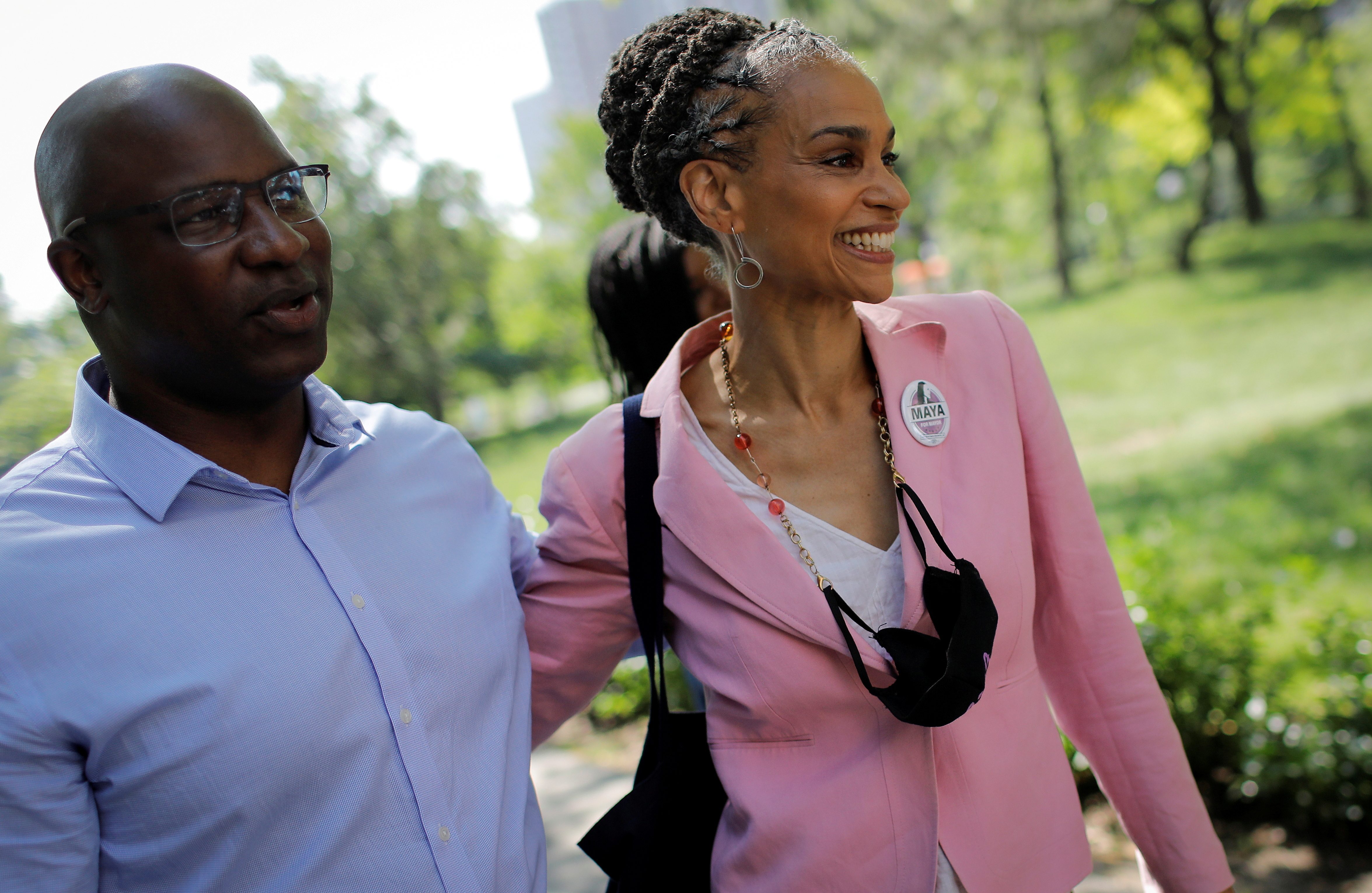 Democratic candidate for New York City Mayor Maya Wiley campaigns with U.S. Representative Jamaal Bowman (D-NY) at the Co-op City housing complex in the Bronx borough of New York City, New York, U.S., June 7, 2021. REUTERS/Mike Segar/File Photo