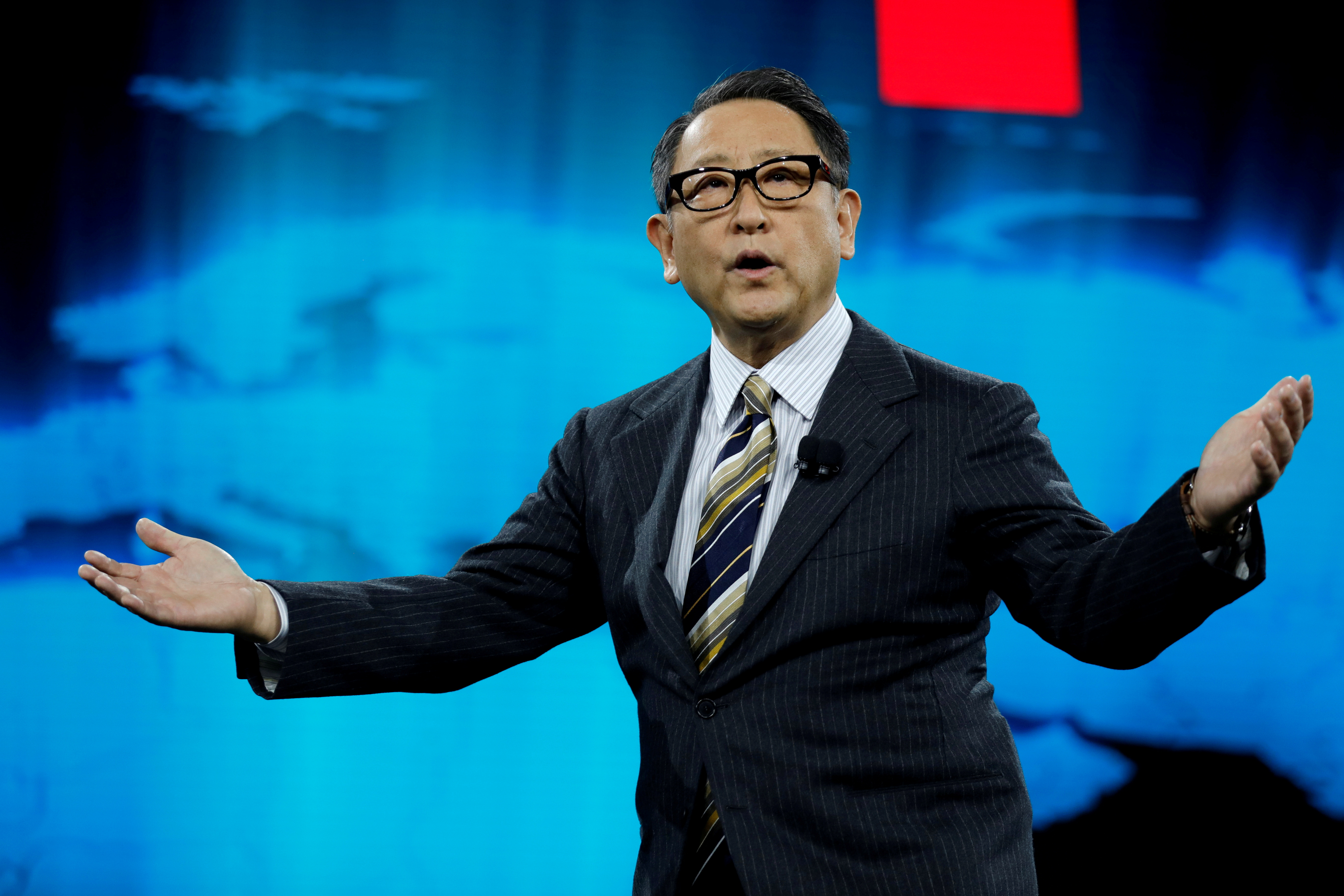 Akio Toyoda, president of Toyota Motor Corporation, speaks at a news conference, where he announced Toyota's plans to build a prototype city of the future on a 175-acre site at the base of Mt. Fuji in Japan, during the 2020 CES in Las Vegas, Nevada, U.S. January 6, 2020. REUTERS/Steve Marcus/File Photo