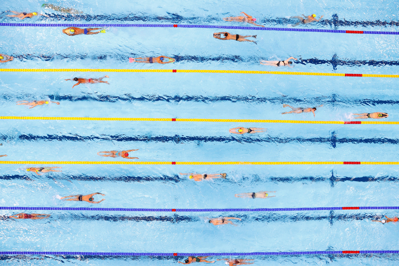 Tokyo 2020 Olympics - Swimming Training - Tokyo Aquatics Centre, Tokyo, Japan - July 21, 2021 Swimmers during training REUTERS/Pawel Kopczynski