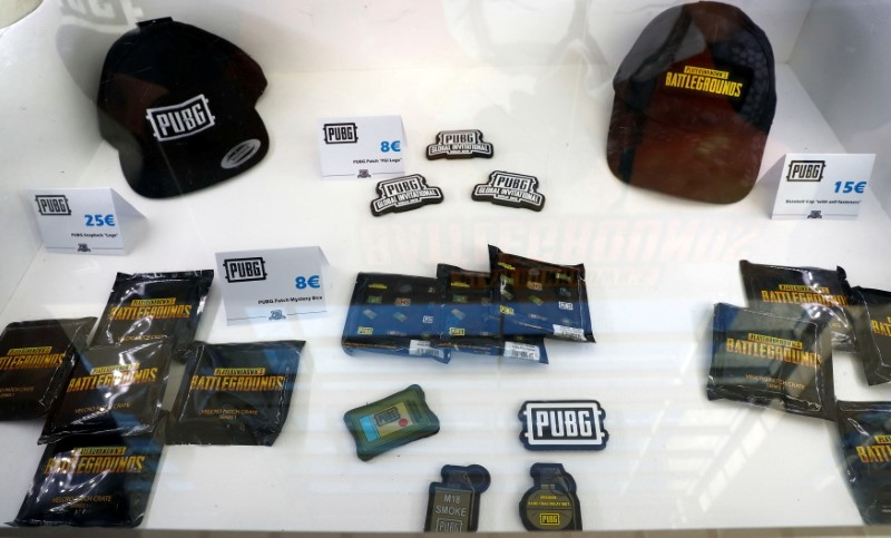 Merchandising products are pictured at the PUBG Global Invitational 2018, the first official esports tournament for the computer game PlayerUnknown's Battlegrounds in Berlin, Germany, July 26, 2018.  REUTERS/Fabrizio Bensch/File Photo