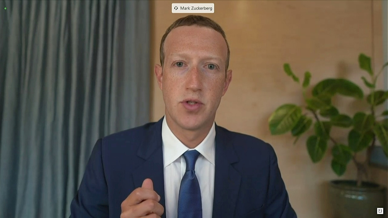 Facebook CEO Mark Zuckerberg testifies remotely via videoconference in this screengrab made from video during a Senate Judiciary Committee hearing titled,