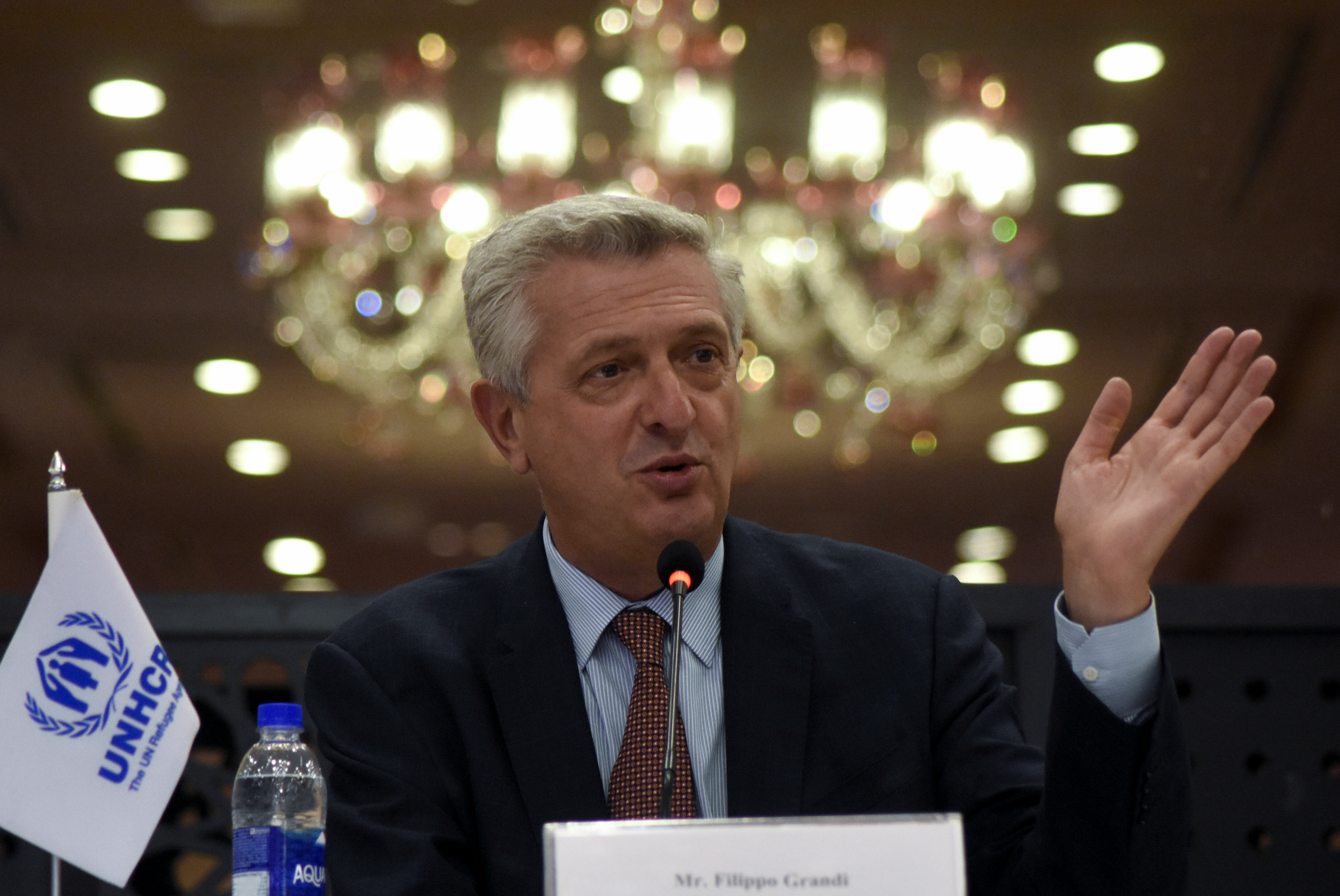 United Nations High Commissioner for Refugees (UNHCR) Filippo Grandi gestures as he speaks during a news conference in Islamabad, Pakistan September 17, 2021. REUTERS/Waseem Khan NO RESALES. NO ARCHIVES