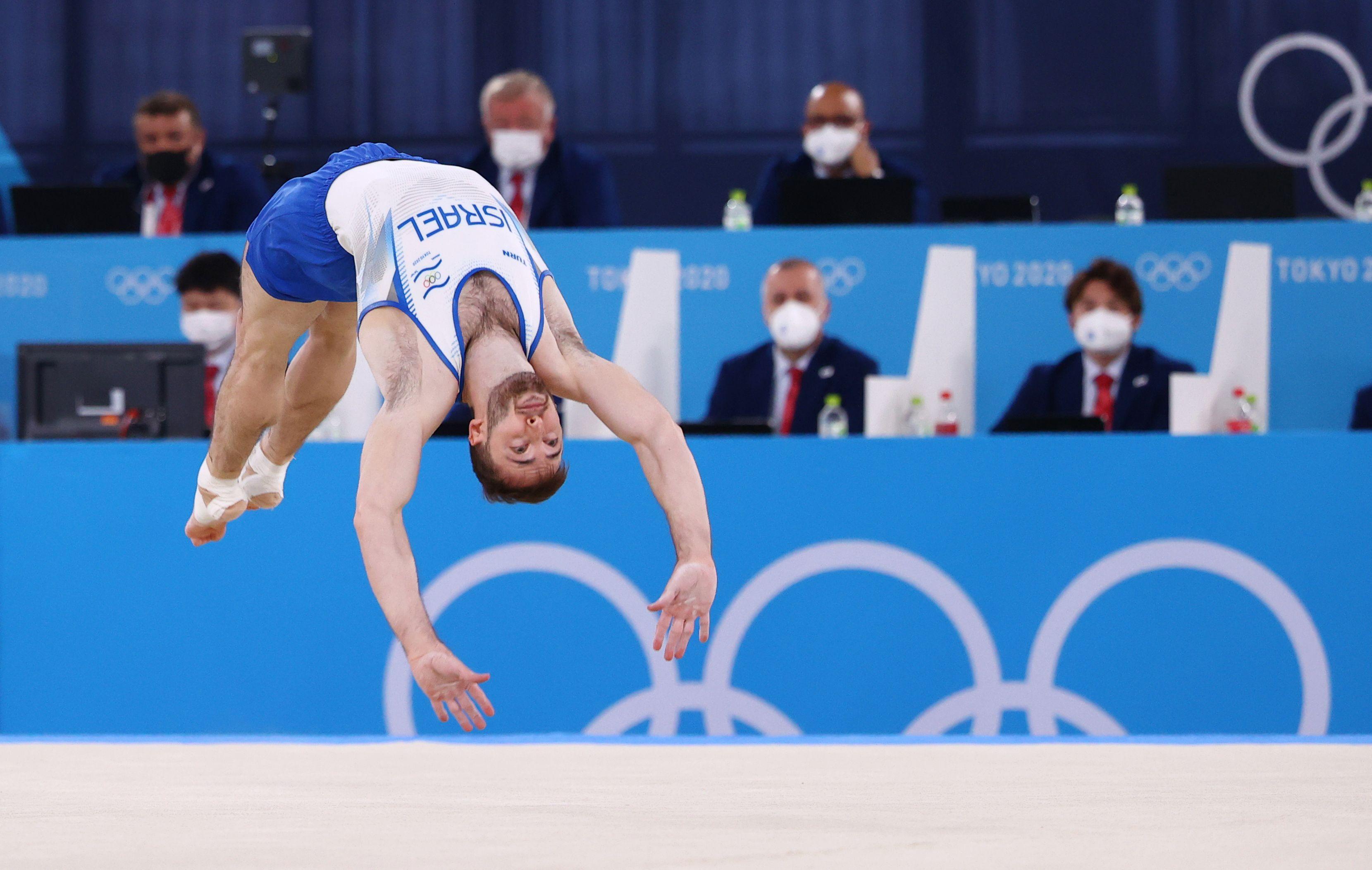 Tokyo 2020 Olympics - Gymnastics - Artistic - Men's Floor Exercise - Final - Ariake Gymnastics Centre, Tokyo, Japan - August 1, 2021.  Artem Dolgopyat of Israel in action during the floor exercise. REUTERS/Lindsey Wasson
