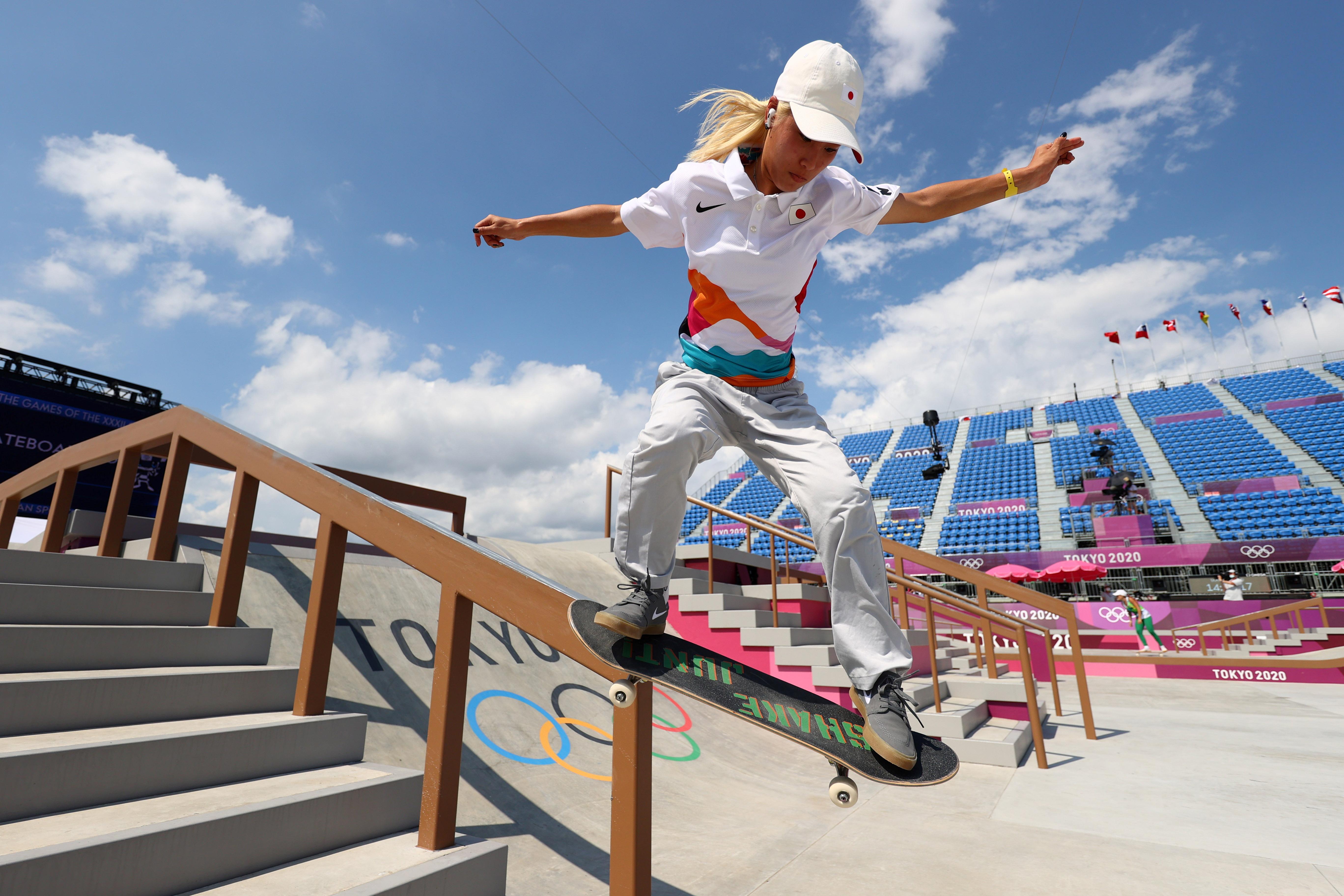 Tokyo 2020 Olympics - Skateboarding Training Session - Ariake Urban Sports Park, Tokyo, Japan - July 24, 2021. Aori Nishimura of Japan in action during training. REUTERS/Lucy Nicholson