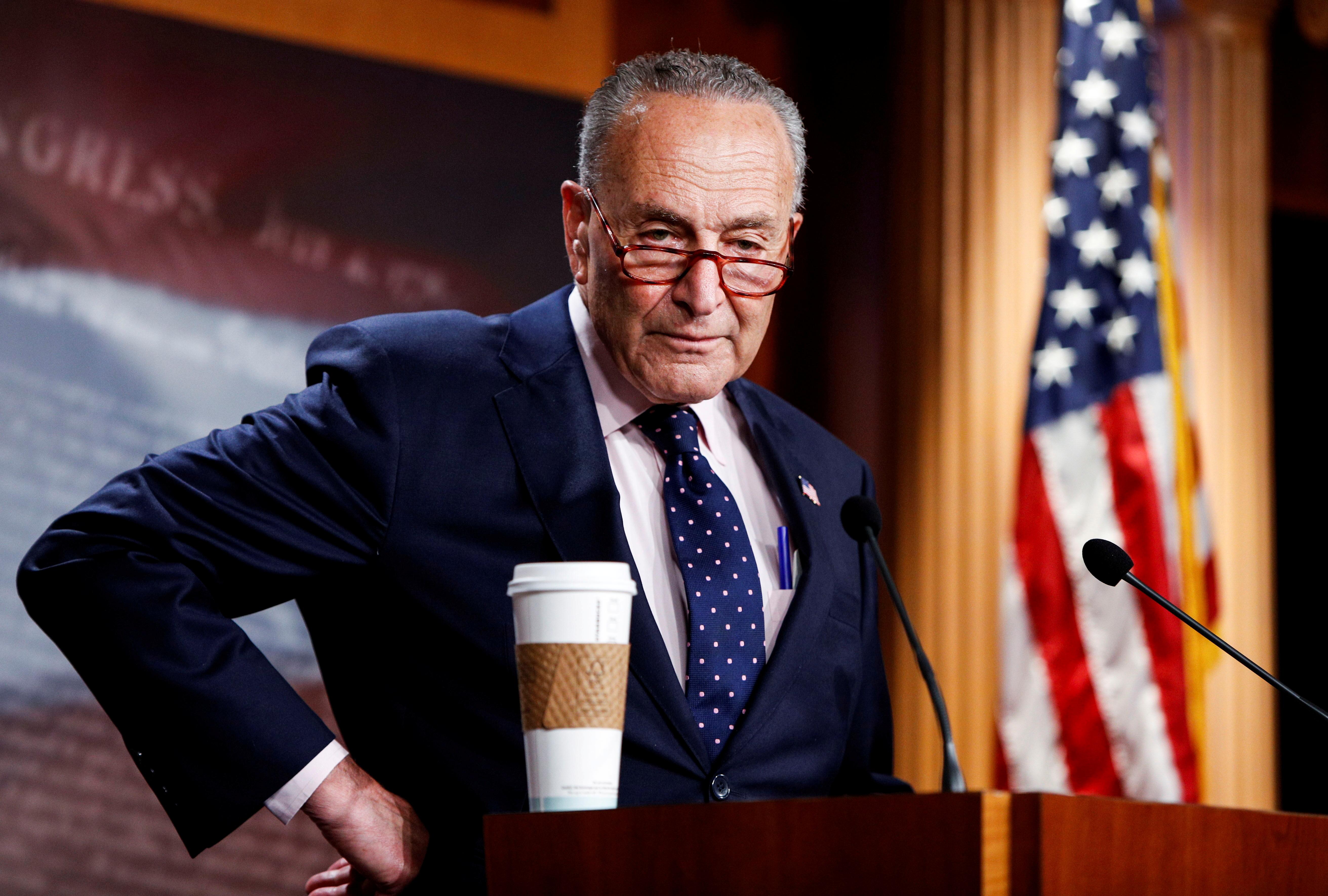 U.S. Senate Majority Leader Chuck Schumer at a news conference at the U.S. Capitol in Washington, U.S., August 11, 2021. REUTERS/Gabrielle Crockett