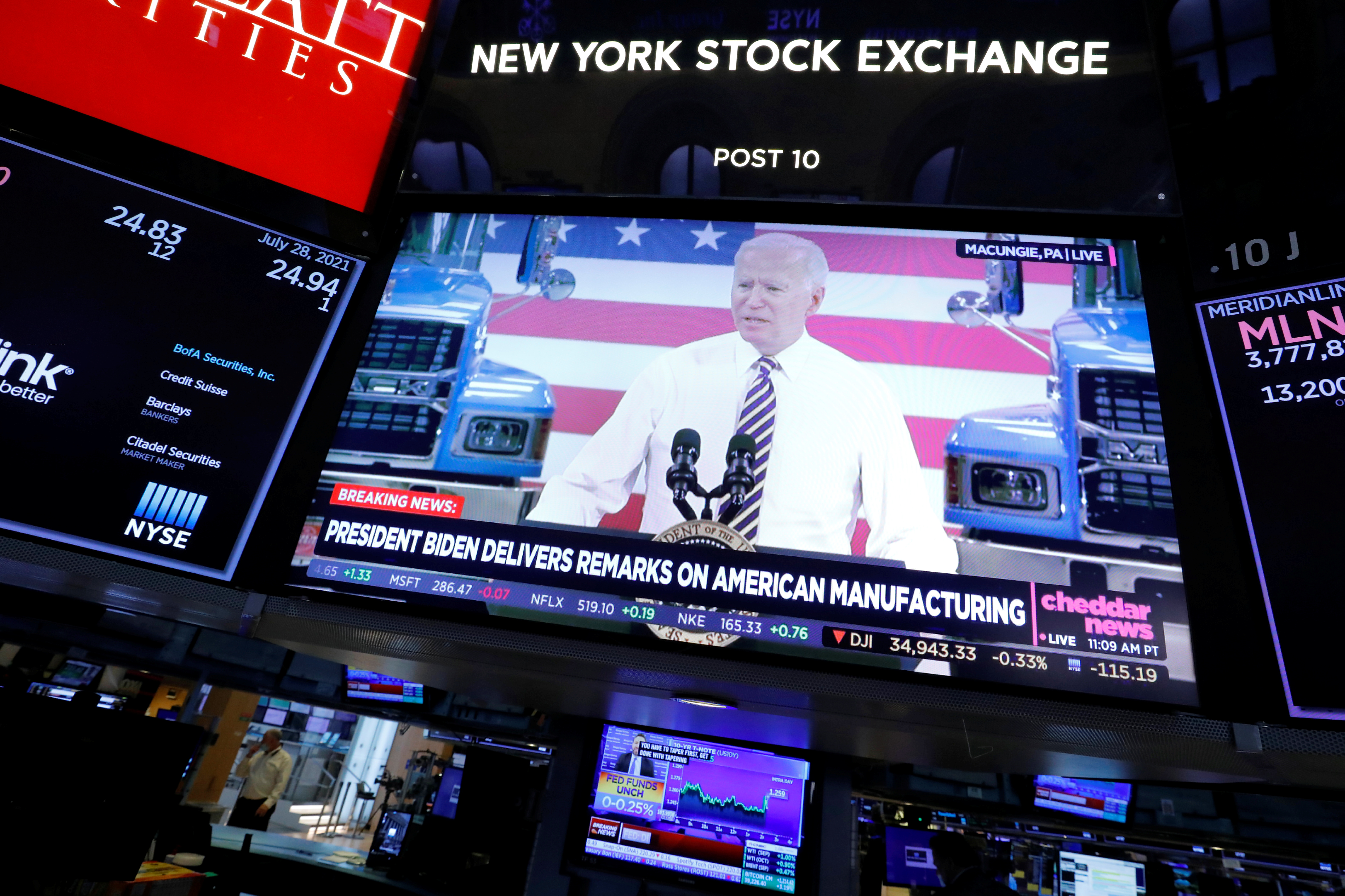 A screen displays the U.S. President Joe Biden's remarks on American manufacturing on the trading floor at New York Stock Exchange (NYSE) in New York City, New York, U.S., July 28, 2021. REUTERS/Andrew Kelly