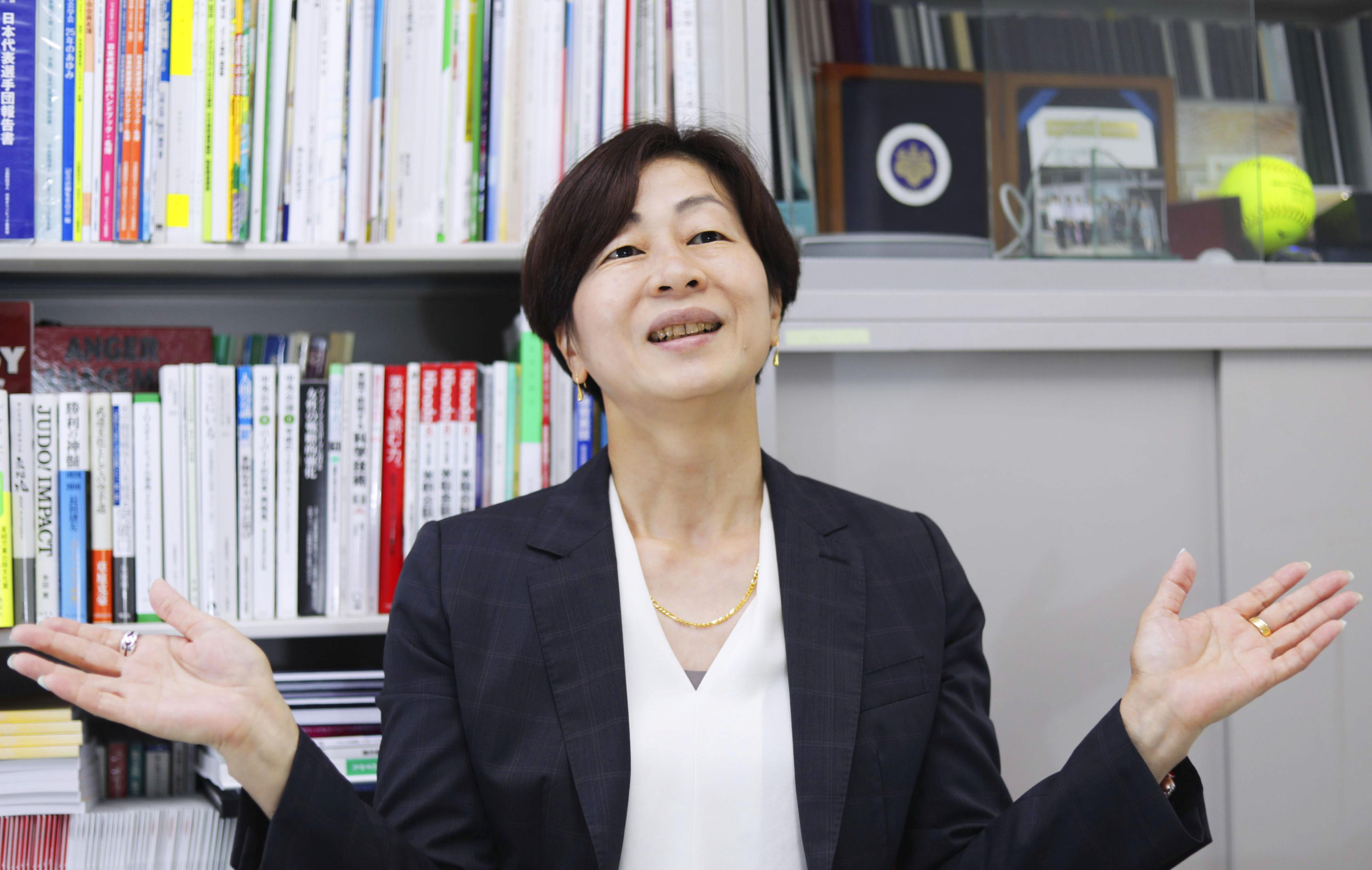 Kaori Yamaguchi, a member of the Japanese Olympic Committee's Executive Board, gives an interview in Tokyo, Japan May 19, 2021, in this photo taken by Kyodo. Picture taken May 19, 2021. Kyodo/via REUTERS