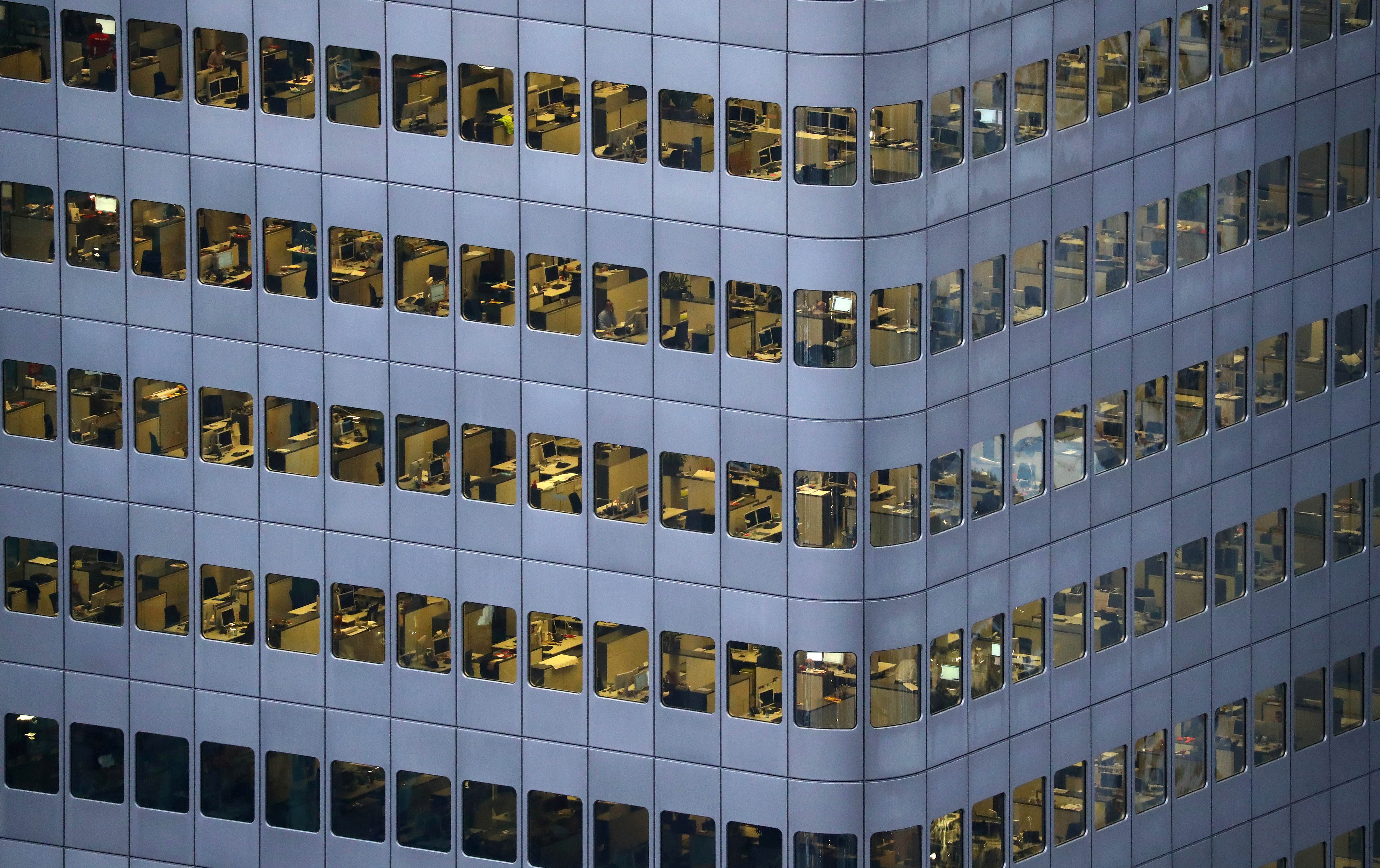 An office building is photographed from a tourist platform early evening in Frankfurt, Germany January 31, 2017. REUTERS/Kai Pfaffenbach
