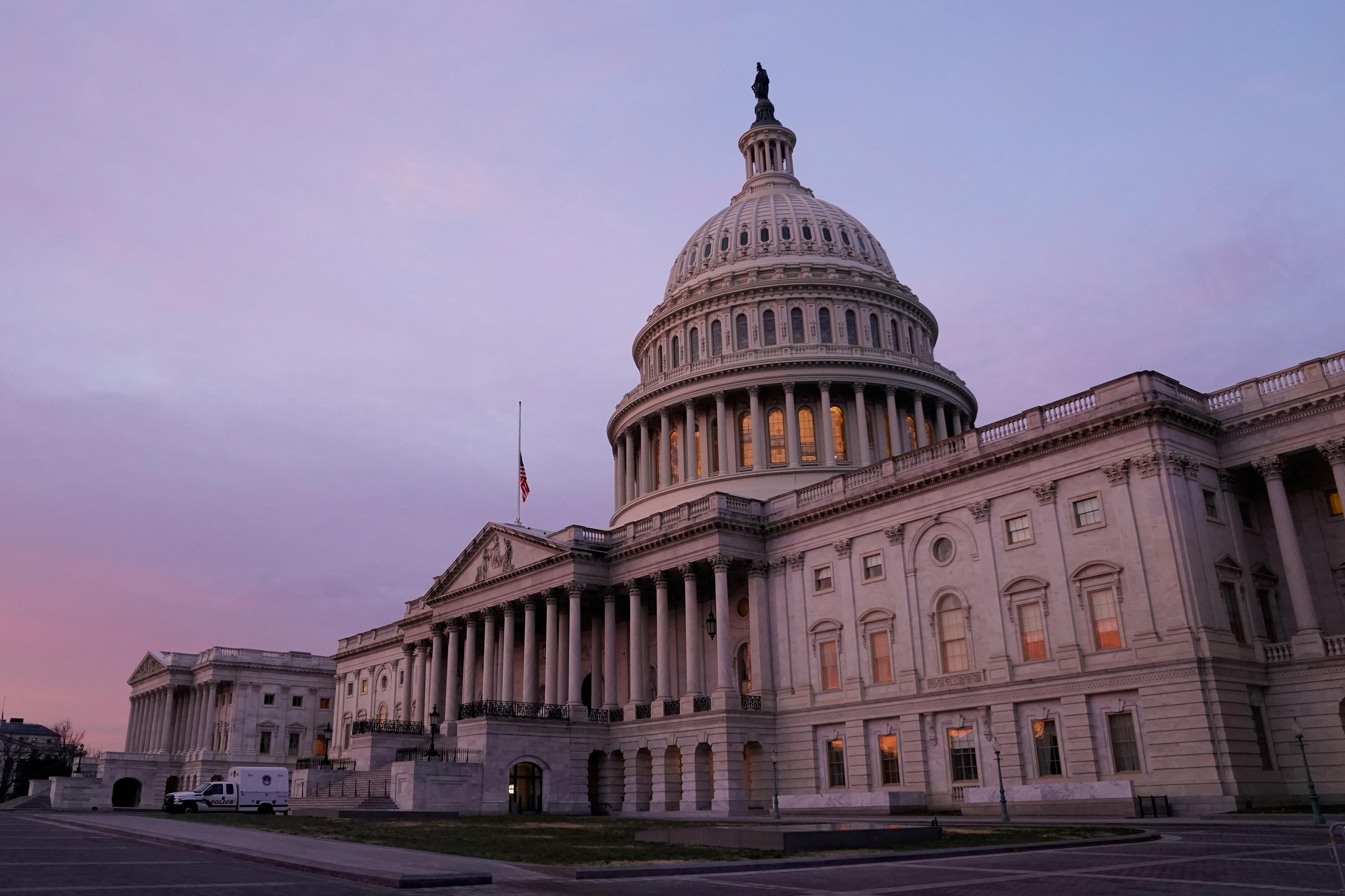 The U.S. Capitol is seen at sunrise.  Washington, U.S. January 11, 2021. REUTERS/Erin Scott