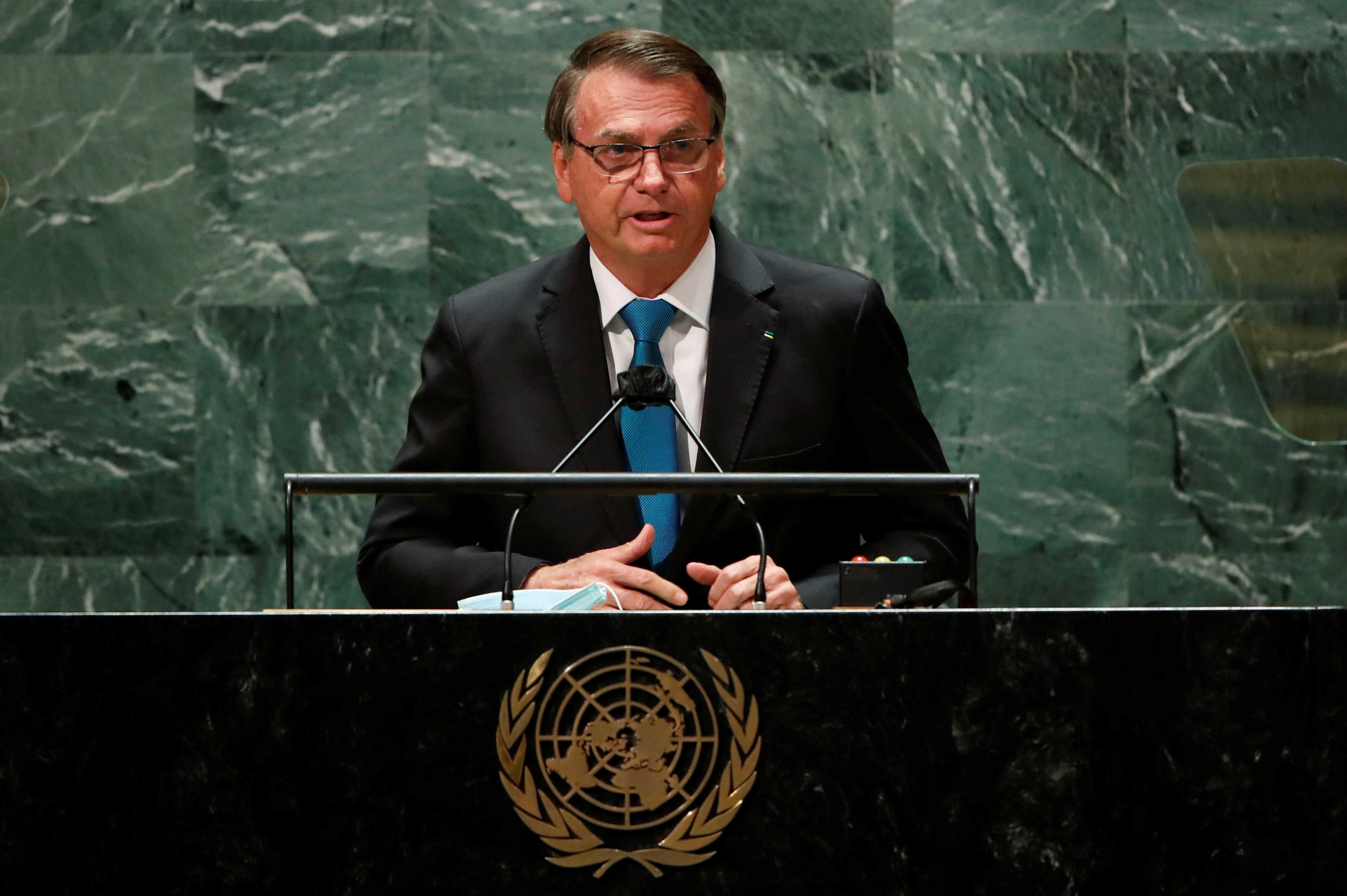 Brazil's President Jair Bolsonaro addresses the 76th Session of the U.N. General Assembly in New York City, U.S., September 21, 2021.  REUTERS/Eduardo Munoz/Pool
