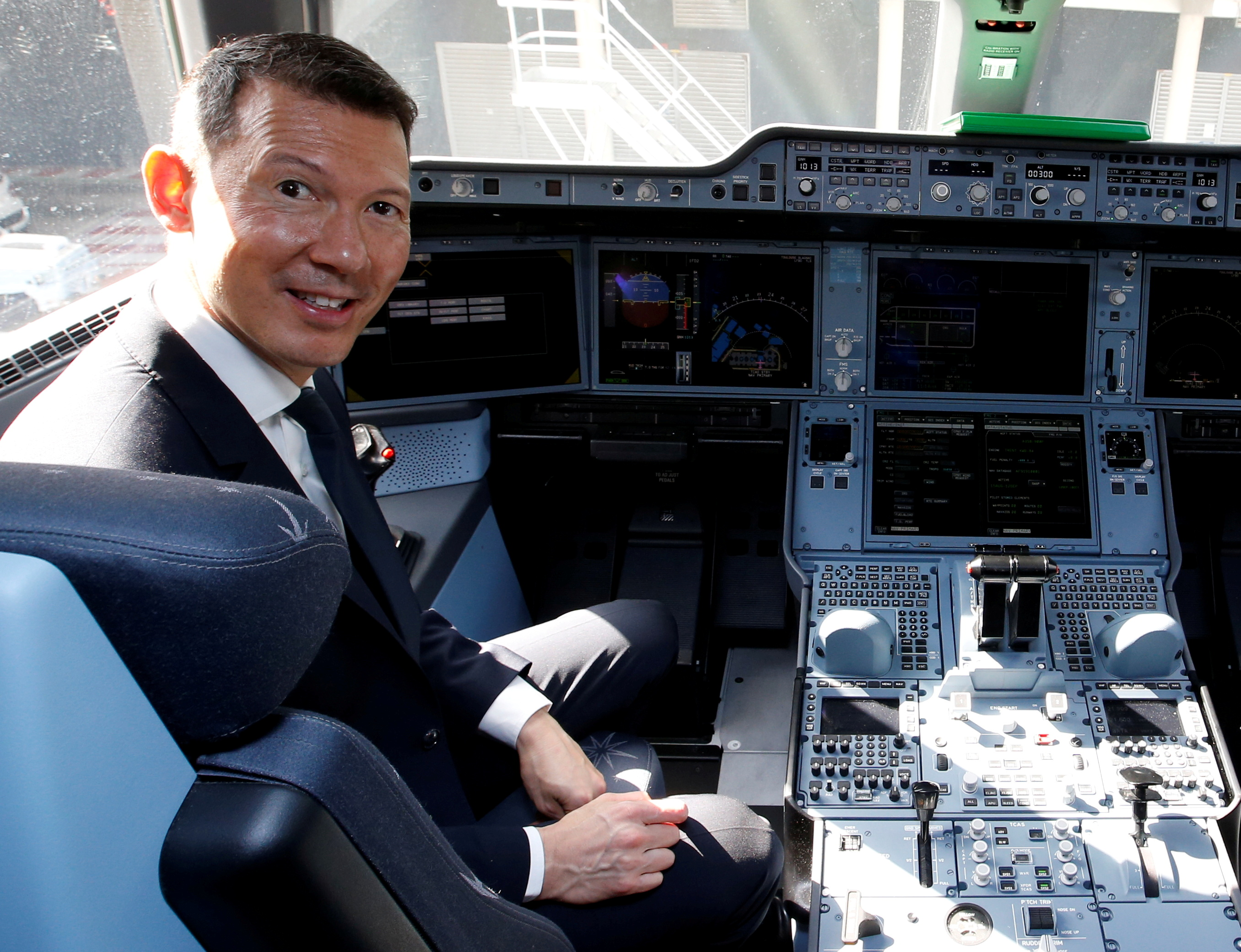Benjamin Smith, Chief Executive of Air France-KLM, poses inside Air France's first Airbus A350 during a ceremony at the aircraft builder's headquarters in Colomiers near Toulouse, France, September 27, 2019. REUTERS/Regis Duvignau