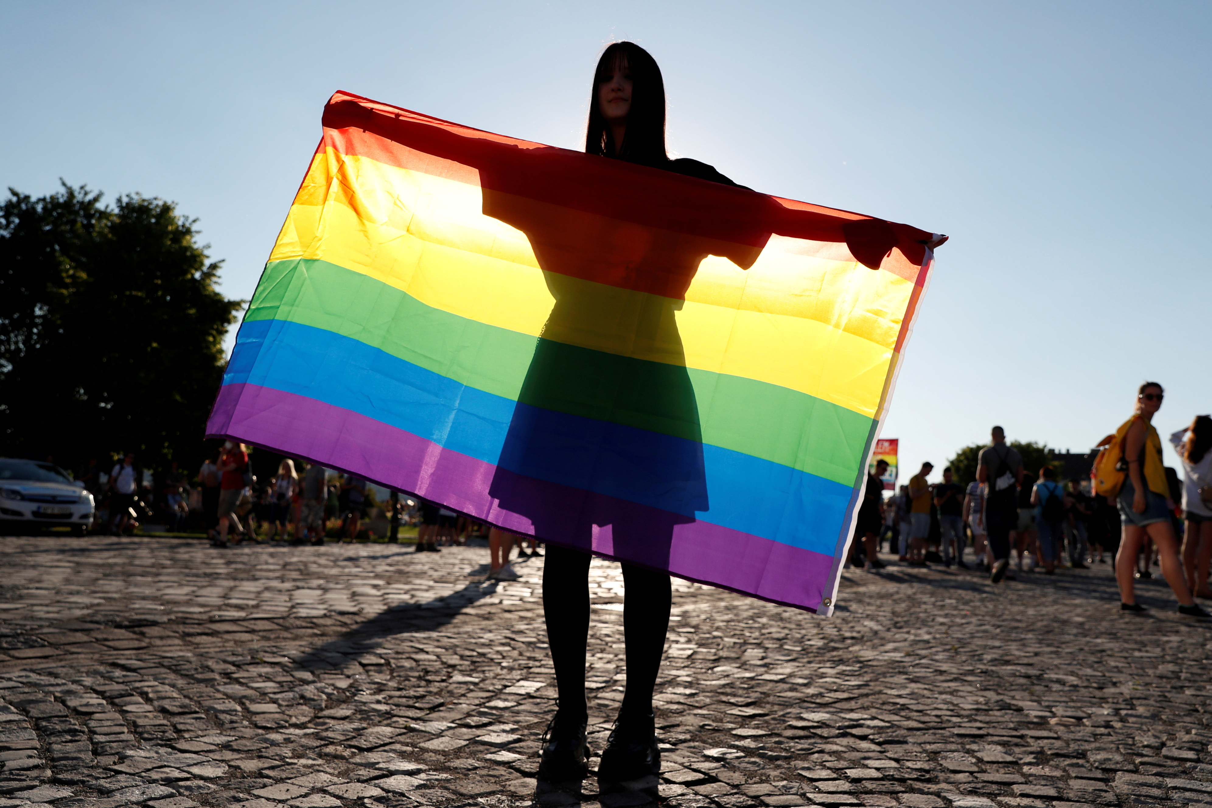 A demonstrator holds the LGBT flag during a protest against a law that bans LGBTQ content in schools and media at the Presidential Palace in Budapest, Hungary, June 16, 2021. REUTERS/Bernadett Szabo/File Photo