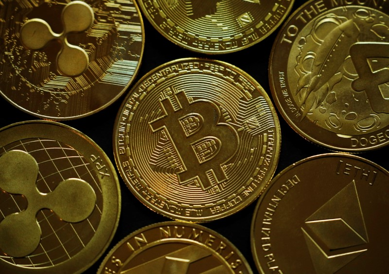 A representation of the virtual cryptocurrency Bitcoin is seen in this picture illustration taken June 14, 2021.   REUTERS/Edgar Su/Illustration