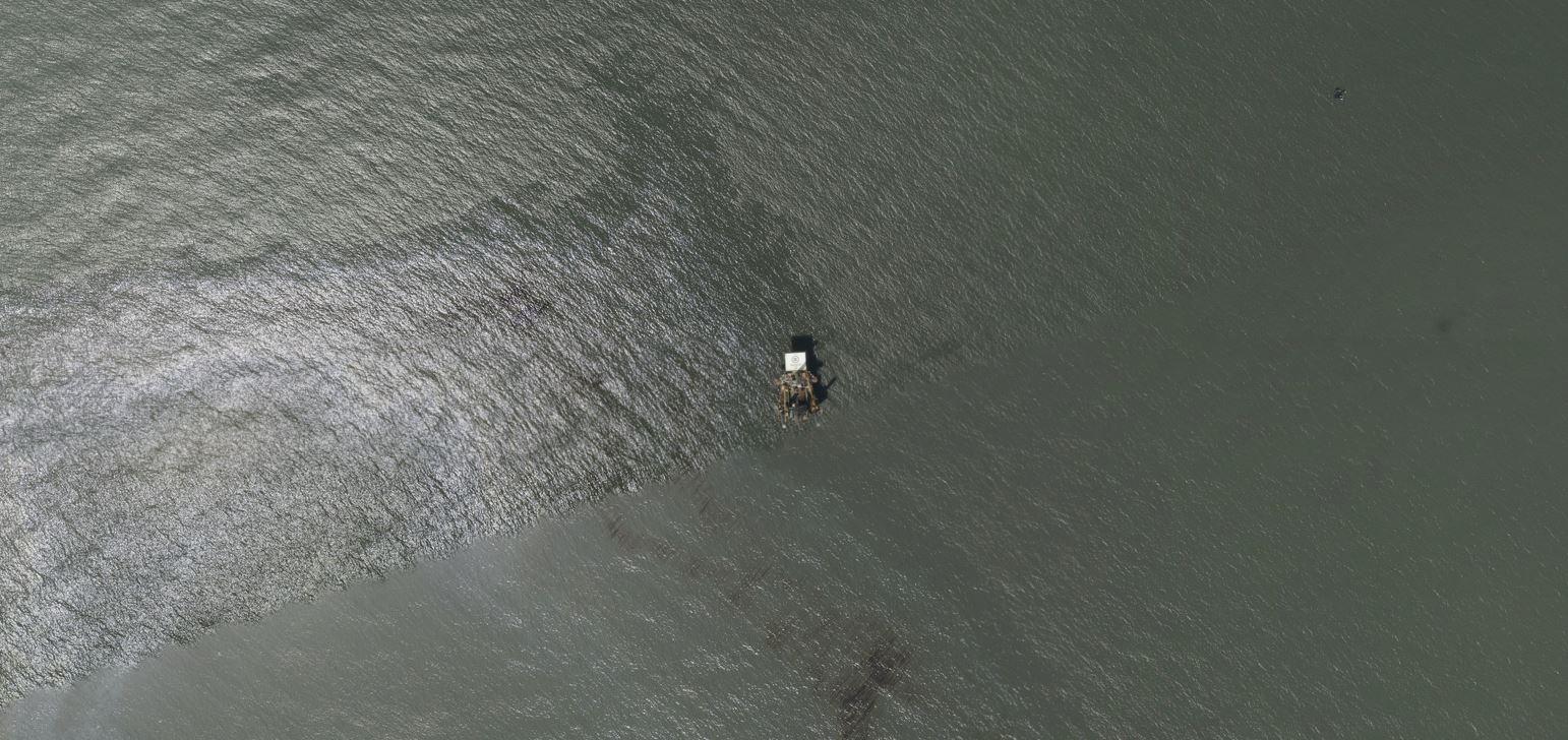 A satellite image shows an oil slick following Hurricane Ida near Port Fourchon, Louisiana, U.S., August 31, 2021. NOAA/Handout via REUTERS