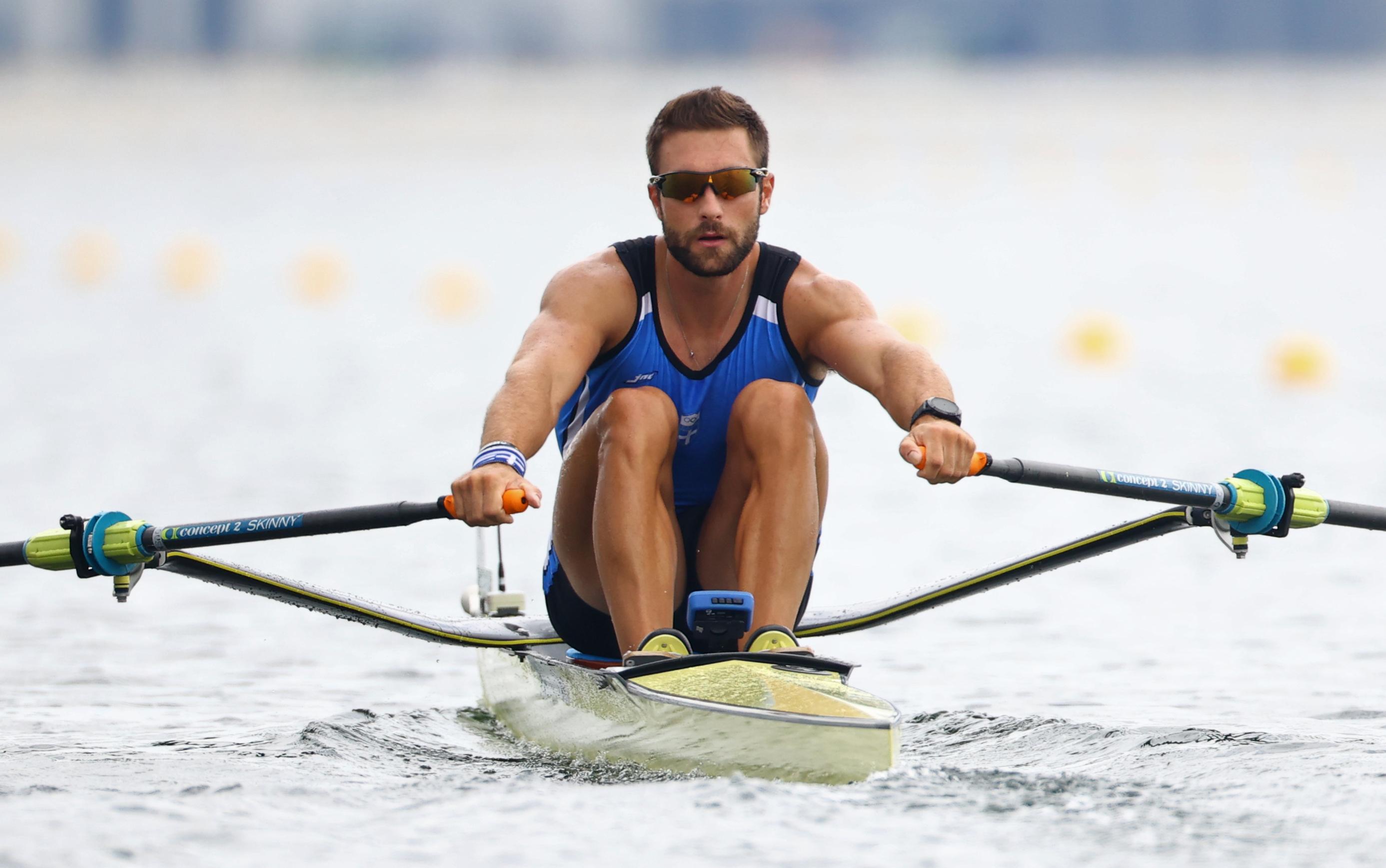 Tokyo 2020 Olympics - Rowing - Men's Single Sculls - Final A - Sea Forest Waterway, Tokyo, Japan - July 30, 2021. Stefanos Ntouskos of Greece in action REUTERS/Leah Millis