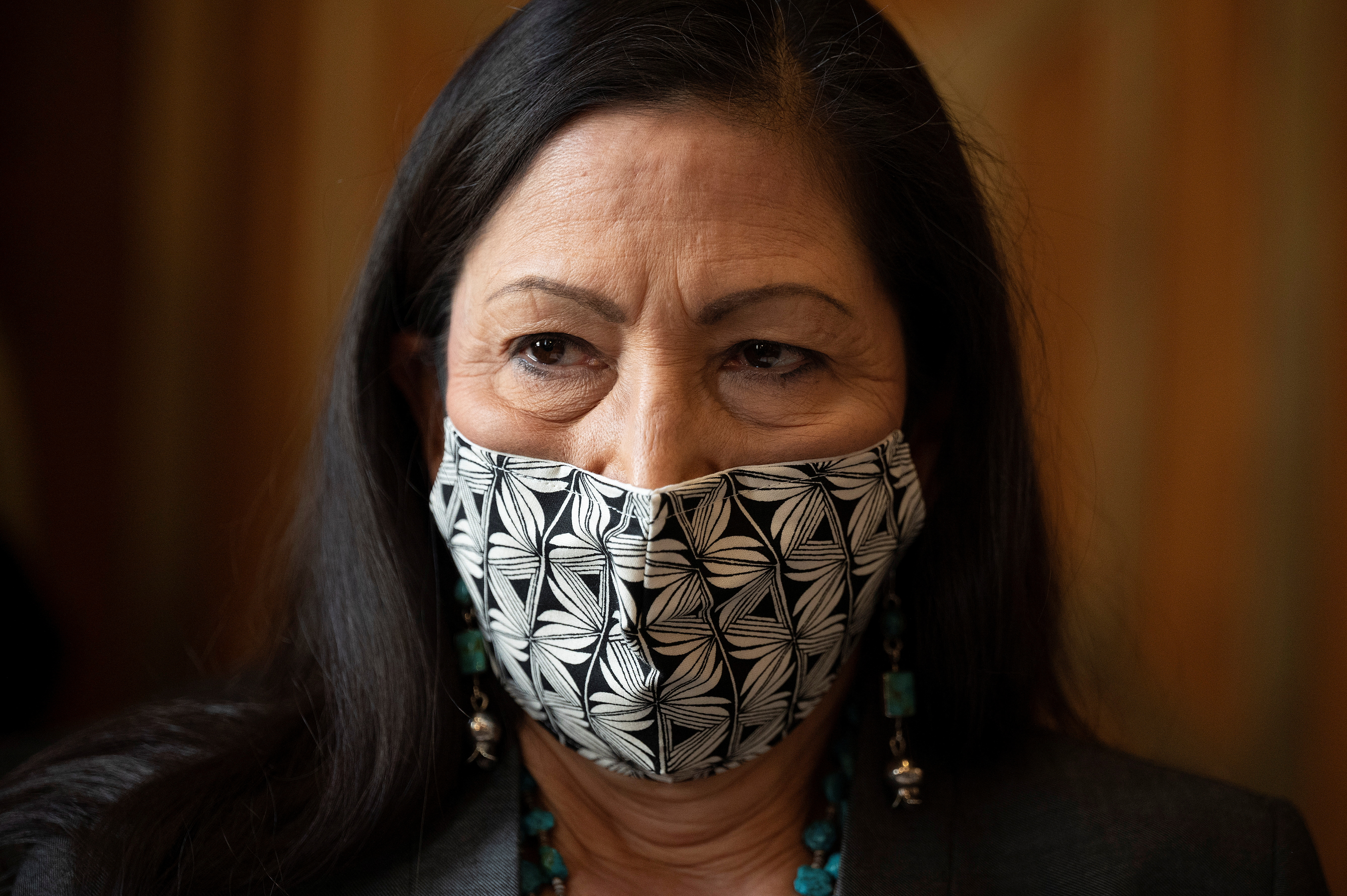 Congresswoman Deb Haaland, D-N.M., speaks in during the Senate Committee on Energy and Natural Resources hearing on her nomination to be Interior Secretary on Capitol Hill in Washington, DC, U.S. February 23, 2021.    Jim Watson/Pool via REUTERS
