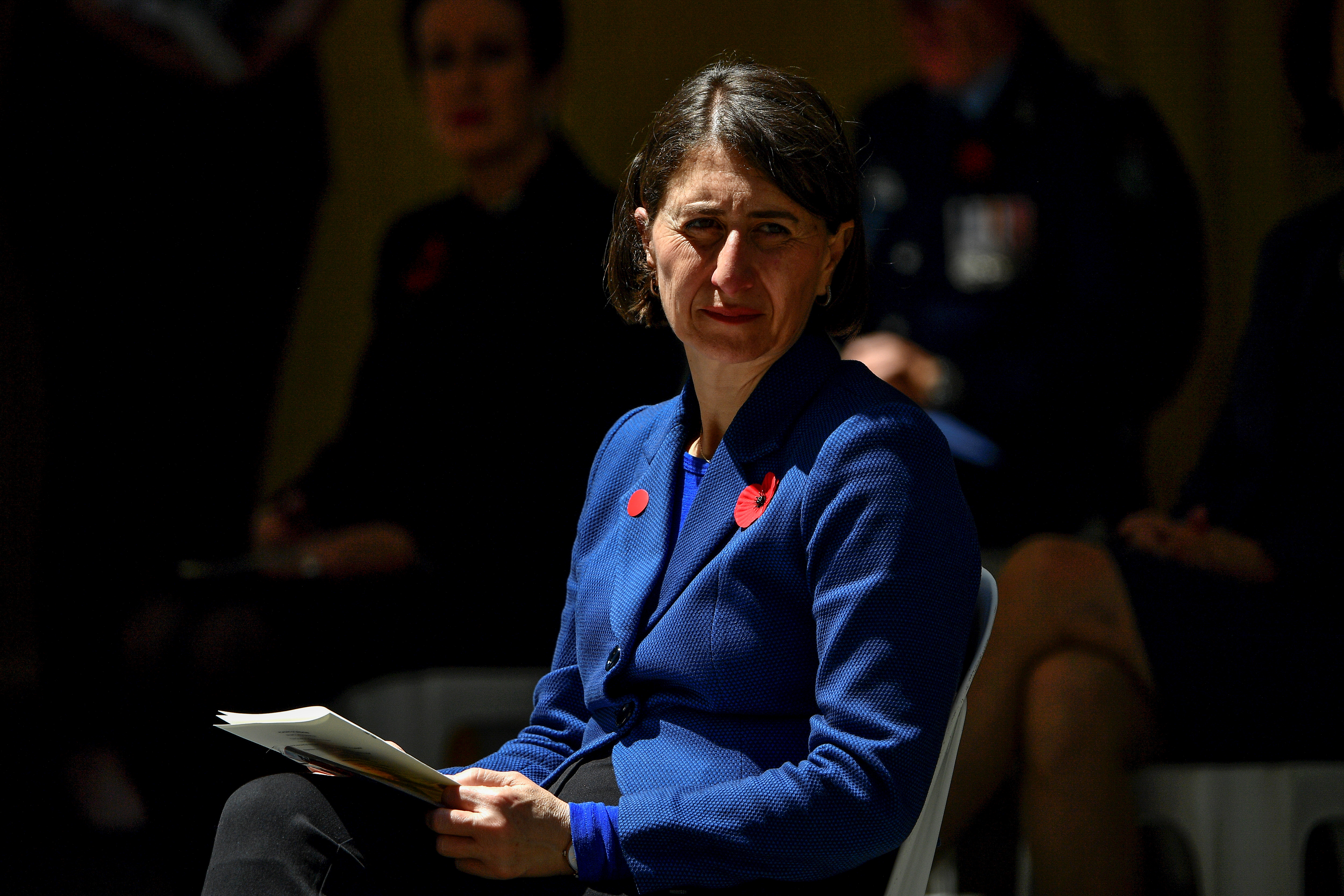 New South Wales premier Gladys Berejiklian attends the Remembrance Day Service at Martin Place in Sydney, Australia November 11, 2020. Saeed Khan/Pool via REUTERS