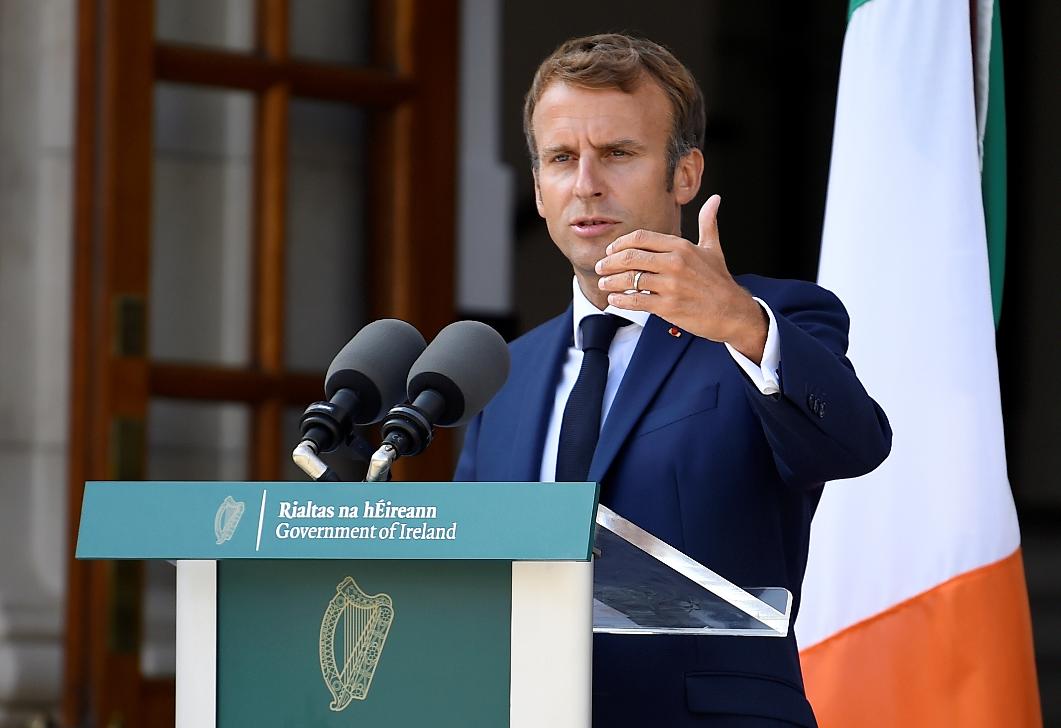 French President Emmanuel Macron speaks during a joint news conference with Ireland's Prime Minister (Taoiseach) Micheal Martin in Dublin, Ireland, August 26, 2021. REUTERS/Clodagh Kilcoyne/Pool