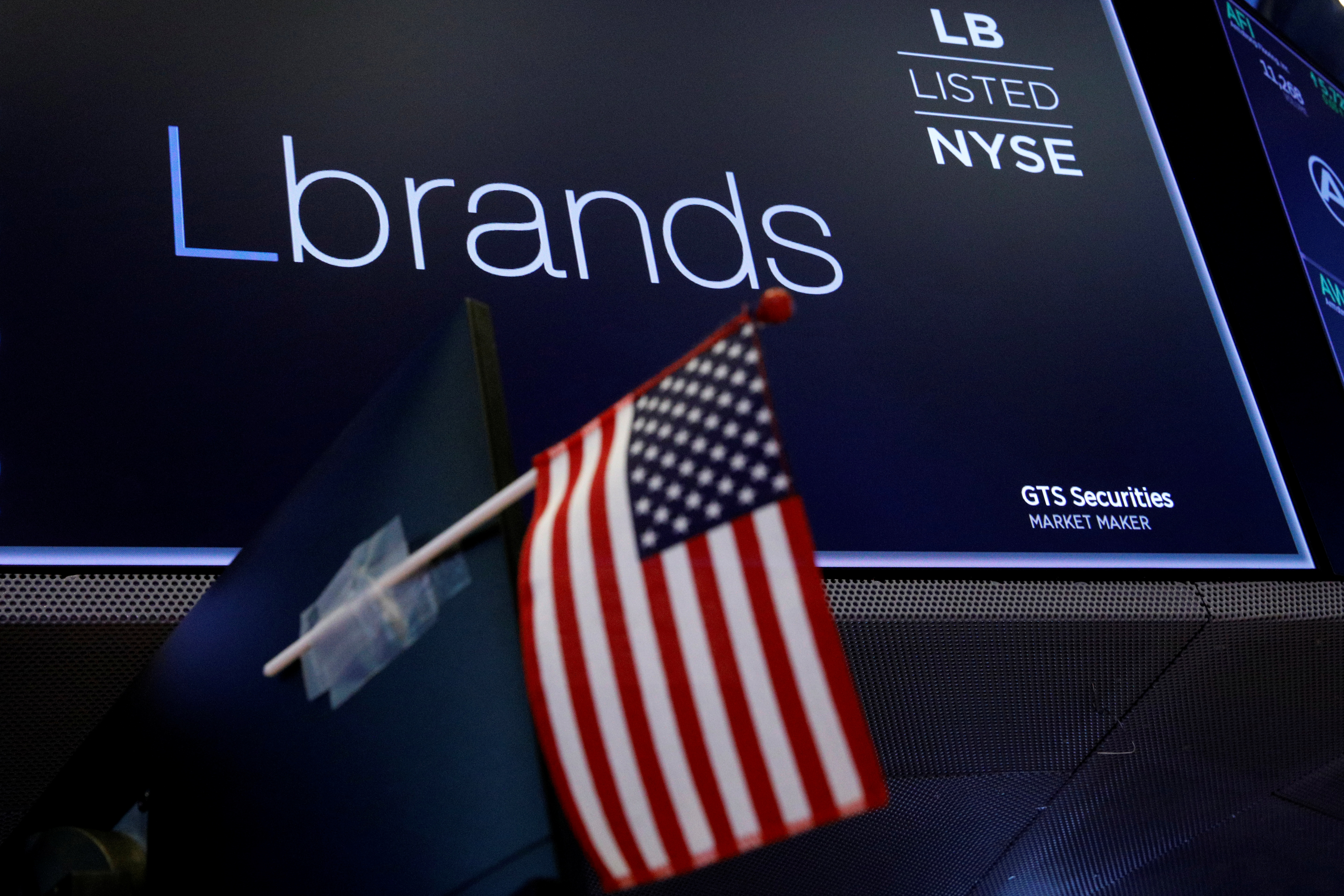 The logo and ticker for L Brands is displayed on a screen at the New York Stock Exchange (NYSE) in New York City, U.S., July 15, 2021.  REUTERS/Brendan McDermid