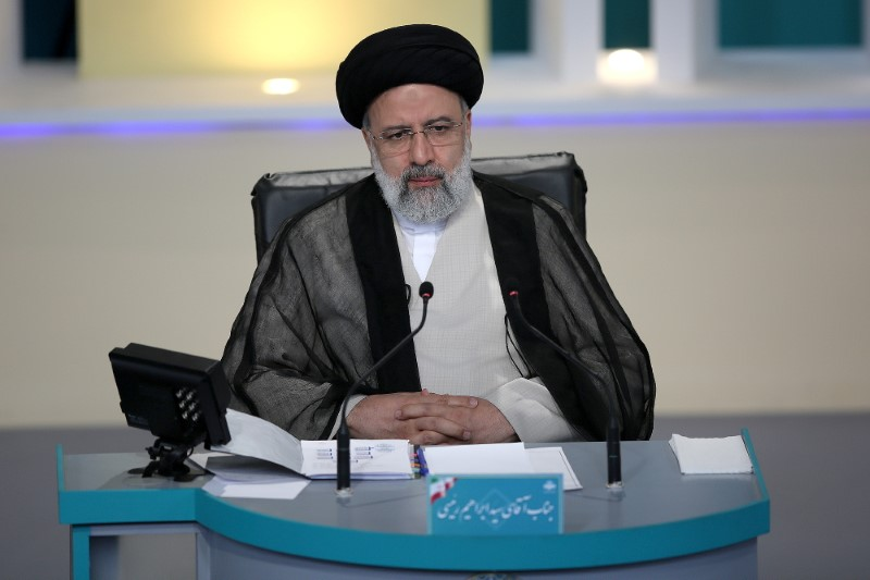 Presidential candidate Ebrahim Raisi attends an election debate at a television studio, in Tehran, Iran June 12, 2021. Morteza Fakhri Nezhad/YJC/WANA (West Asia News Agency) via REUTERS