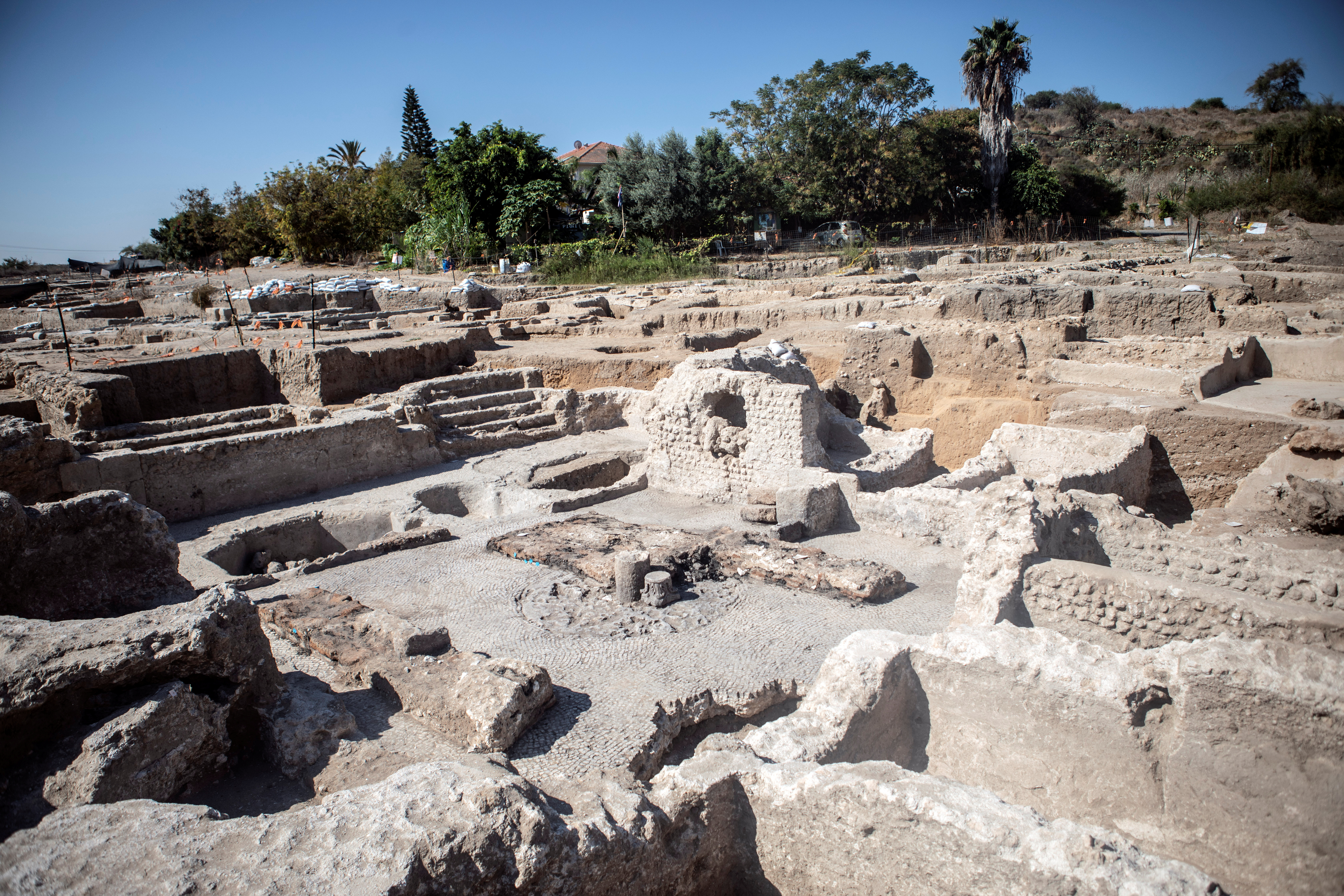 A general view shows the remains of a 1500-year-old Byzantine winery uncovered by the Israel Antiquities Authority, in Yavne, Israel October 11, 2021. REUTERS/Nir Elias
