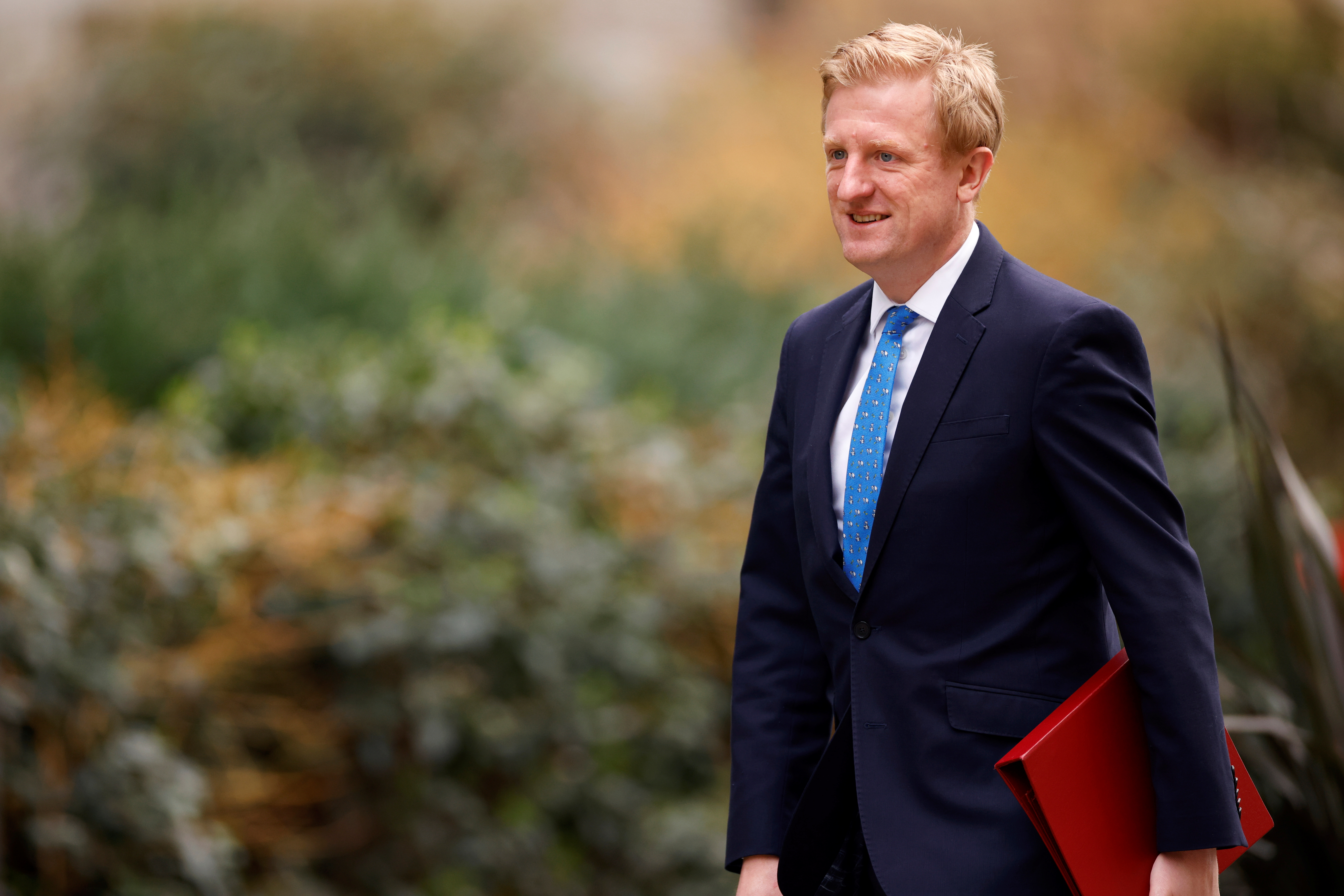 Britain's Secretary of State for Digital, Culture, Media and Sport Oliver Dowden walks outside Downing Street in London, Britain, February 24, 2021. REUTERS/John Sibley