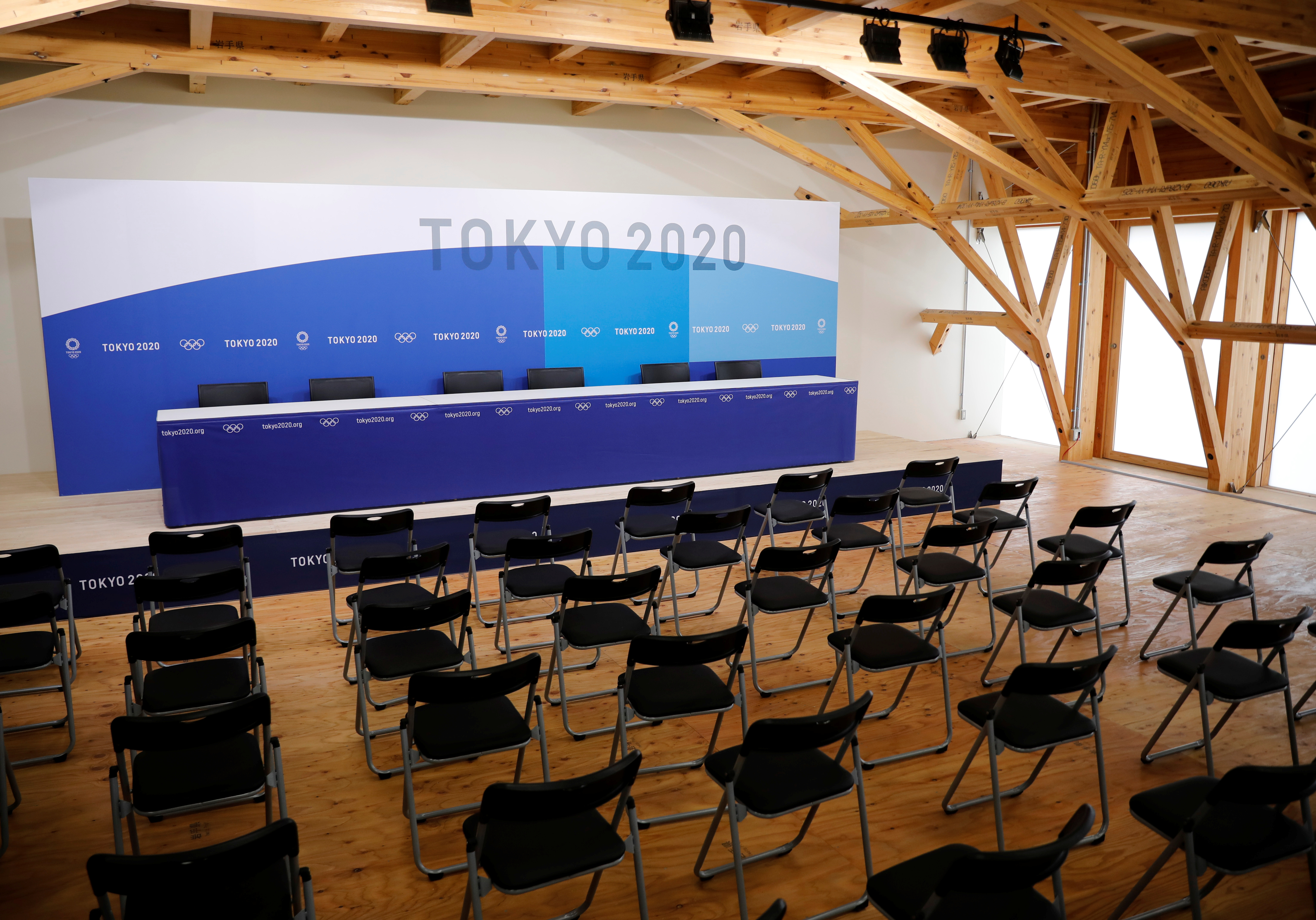 A news conference room is pictured at the village plaza of the Tokyo 2020 Olympic and Paralympic Village in Tokyo, Japan, June 20, 2021.   REUTERS/Kim Kyung-Hoon
