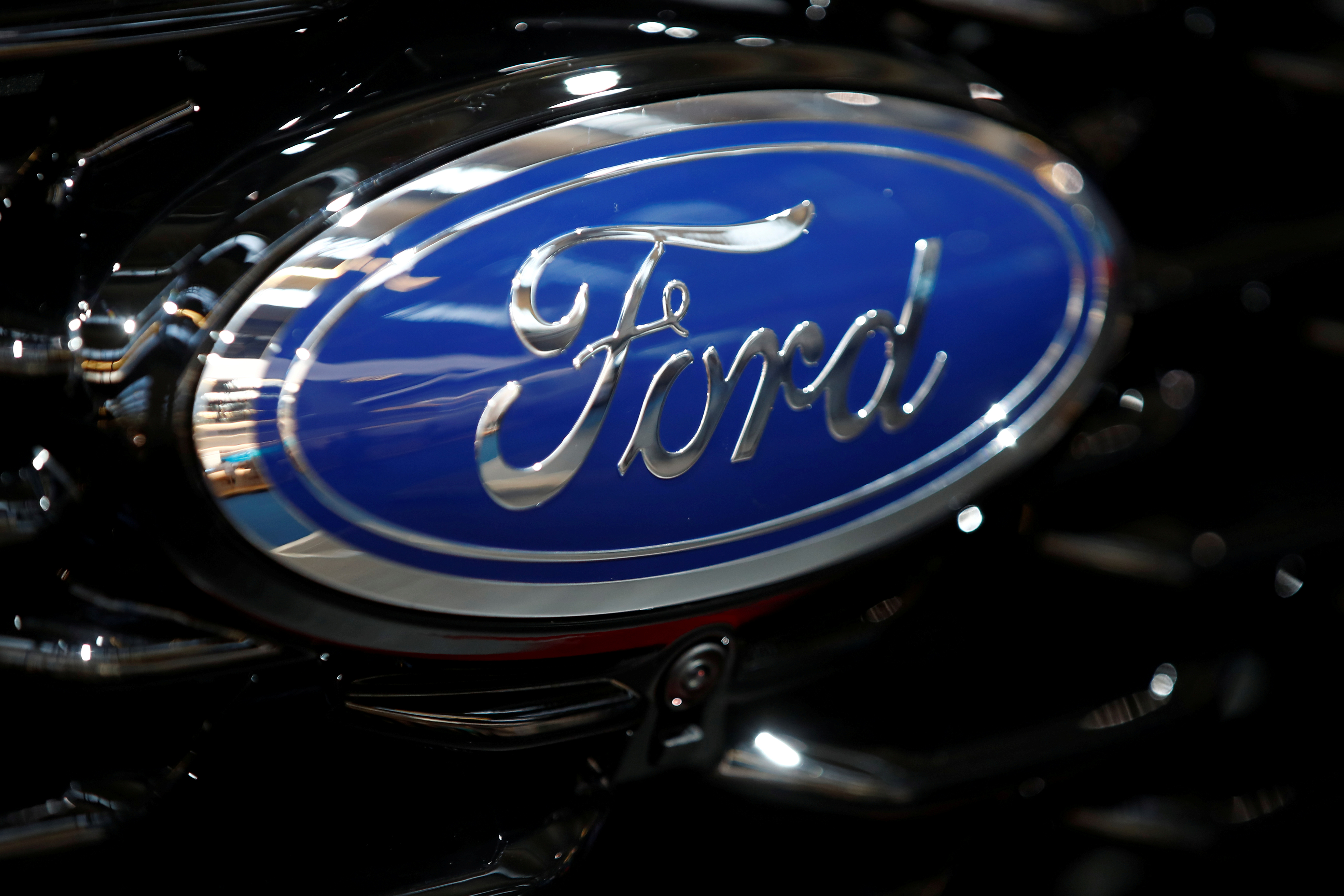 Ford logo is pictured at the 2019 Frankfurt Motor Show (IAA) in Frankfurt, Germany. REUTERS/Wolfgang Rattay/File Photo